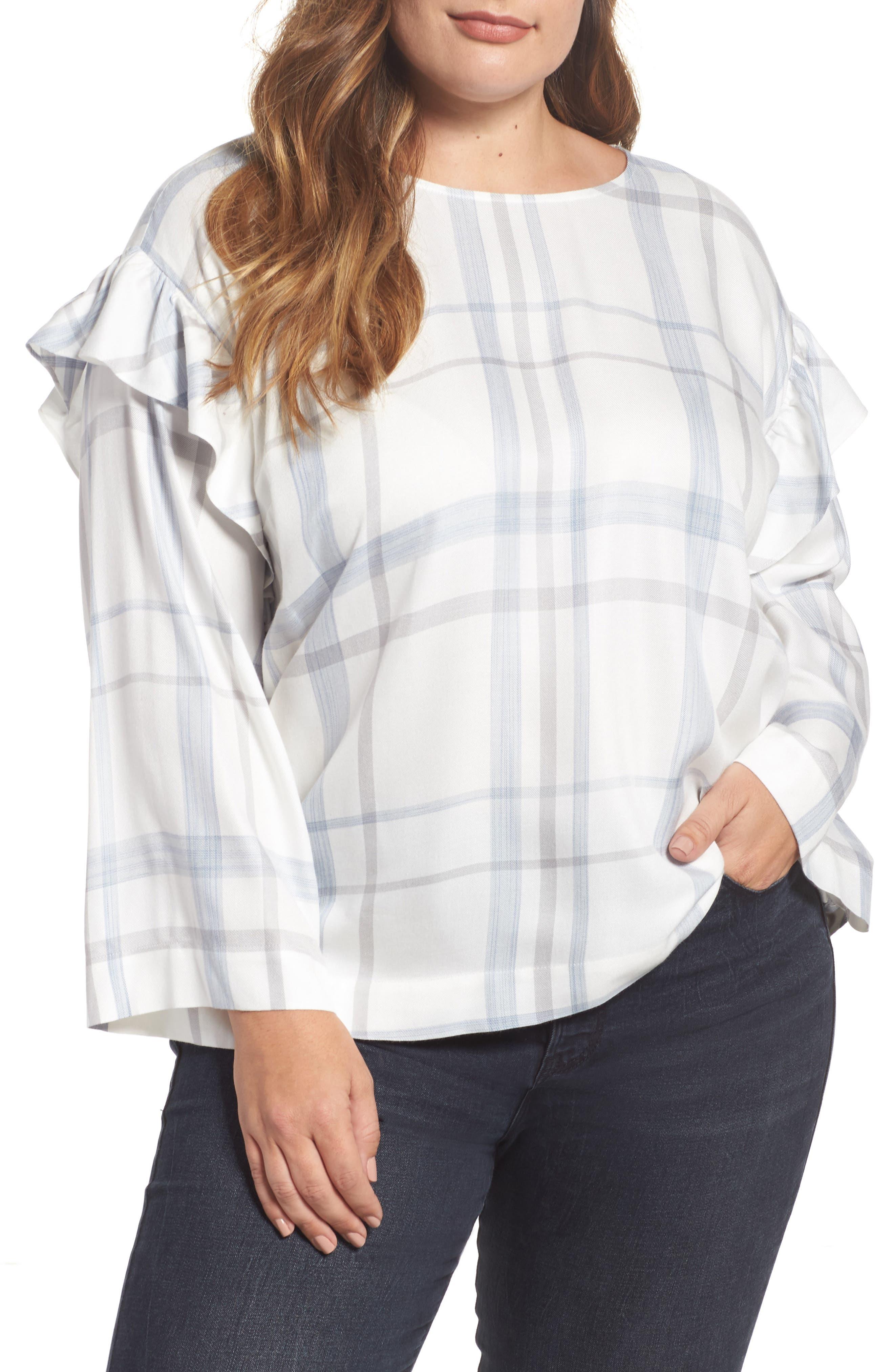 Ruffed Sleeve Top,                         Main,                         color, 905