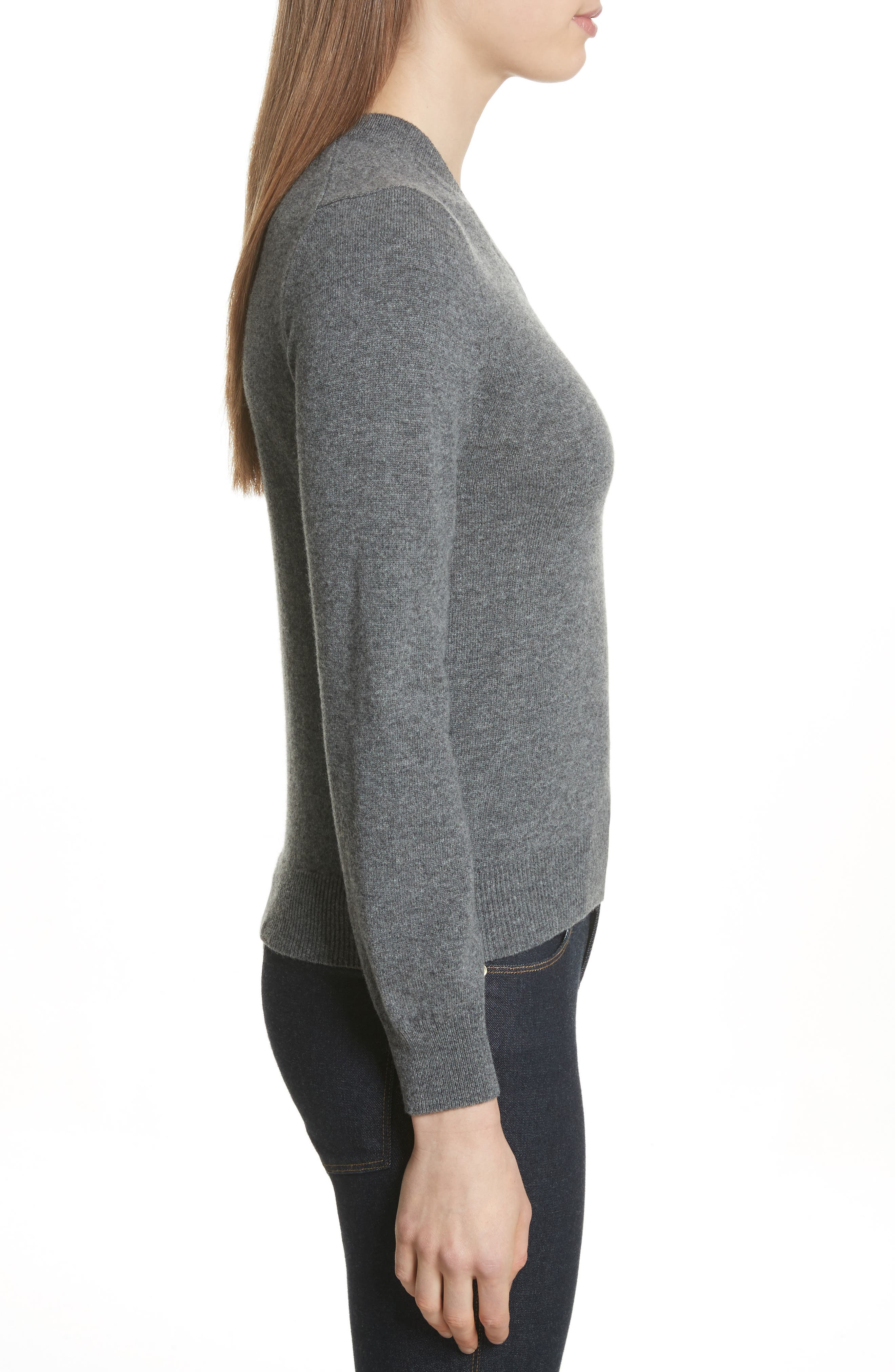 Wool V-Neck Sweater,                             Alternate thumbnail 3, color,                             GREY