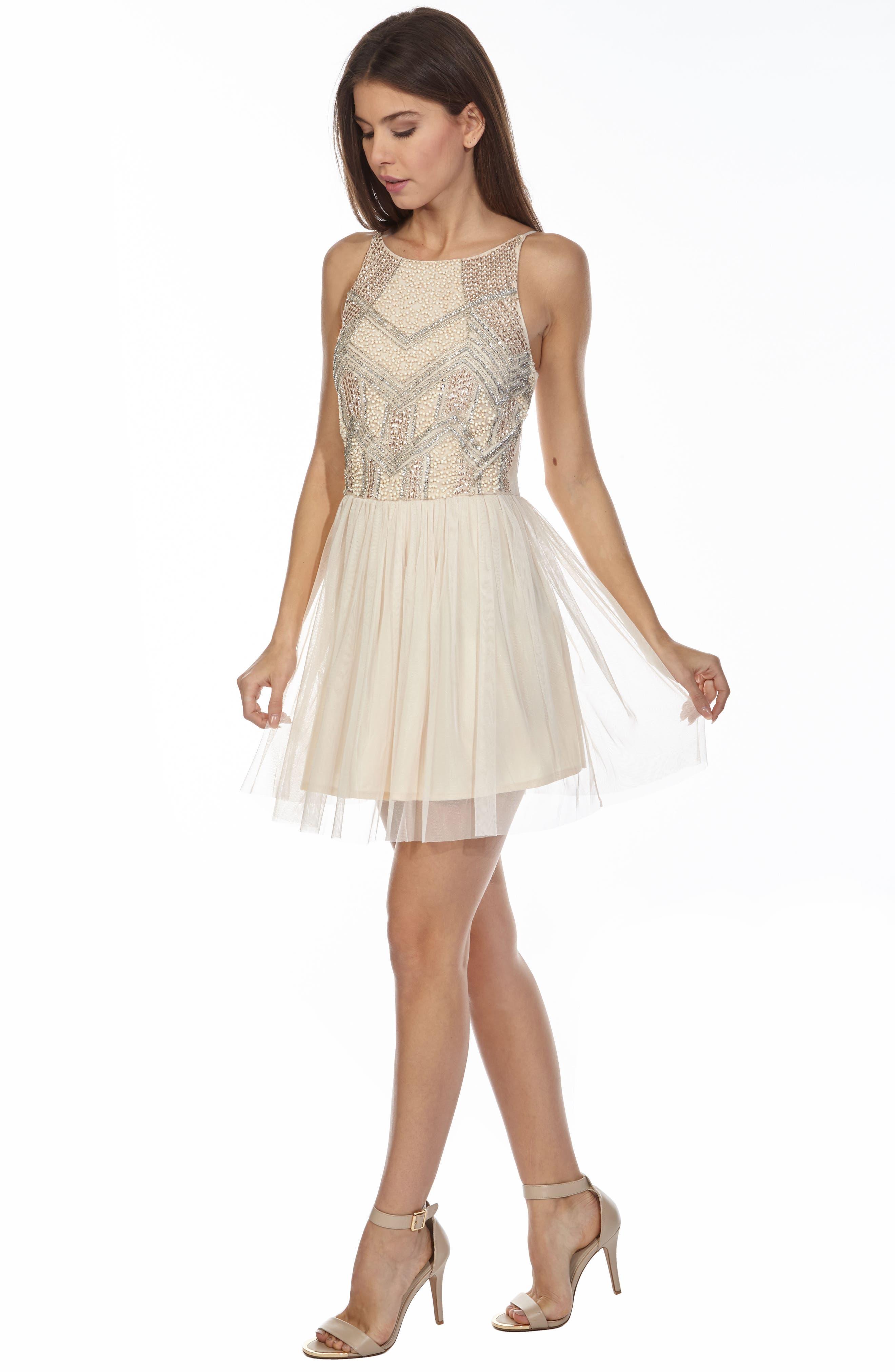 Peach Embellished Skater Dress,                             Alternate thumbnail 5, color,                             900