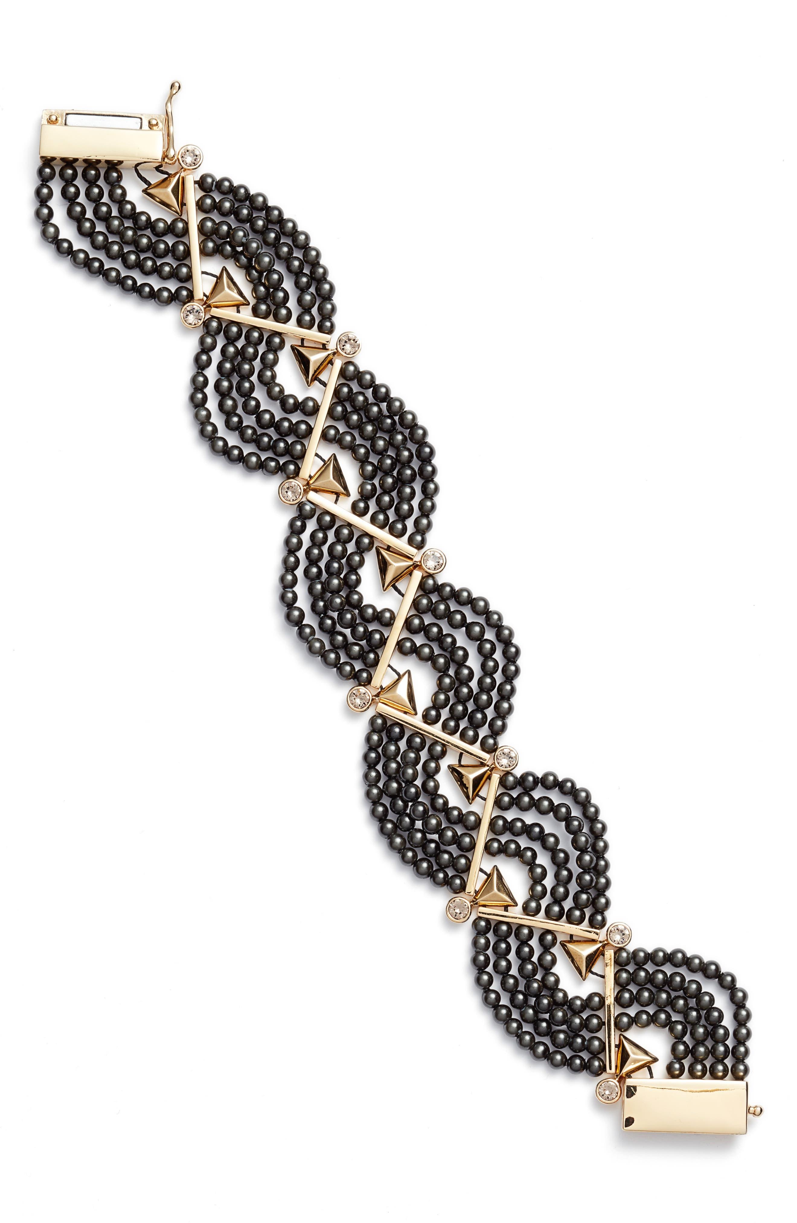Crystal & Imitation Pearl Bracelet,                         Main,                         color, 001