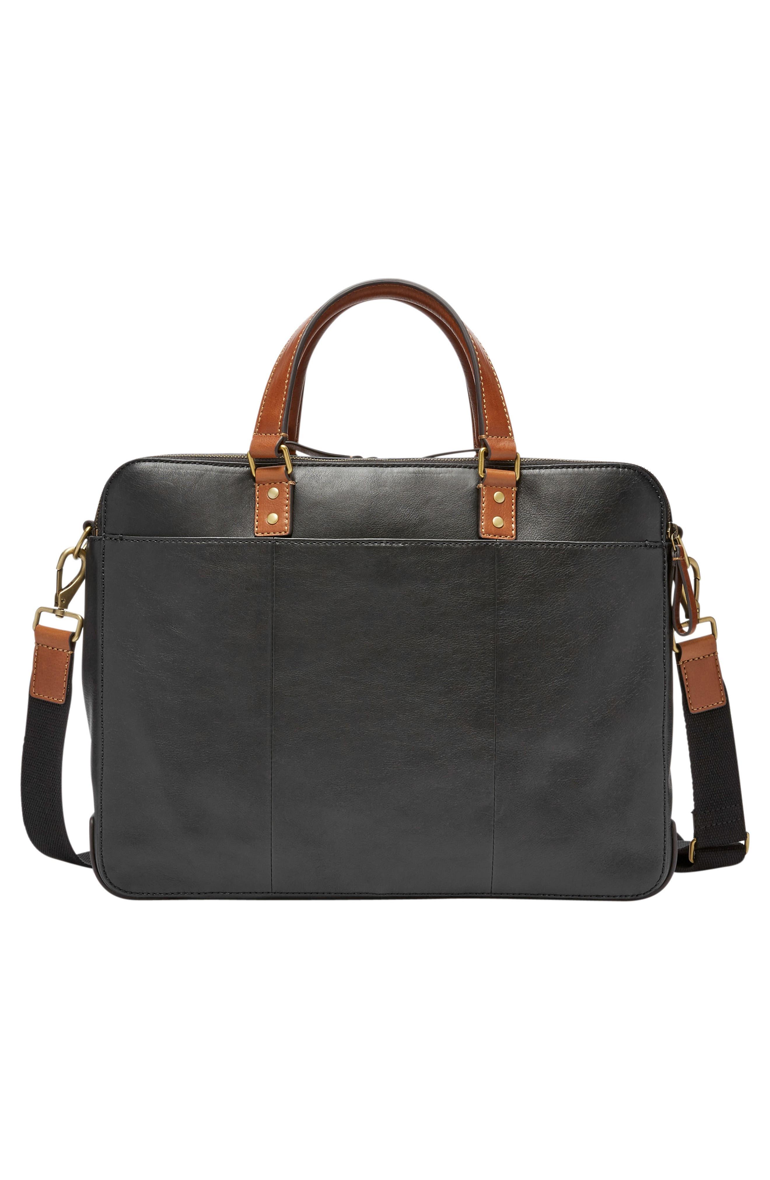 Defender Leather Briefcase,                             Alternate thumbnail 2, color,                             BLACK