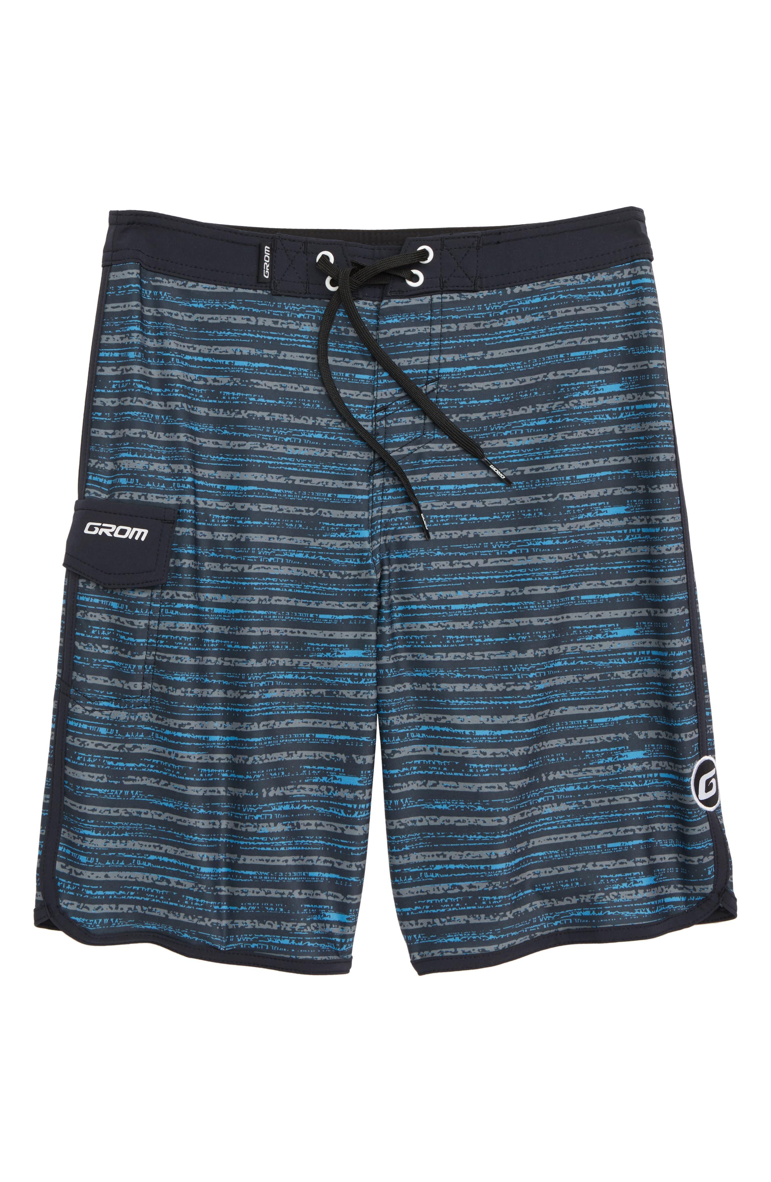 Static Stripe Board Shorts,                         Main,                         color, BLUE