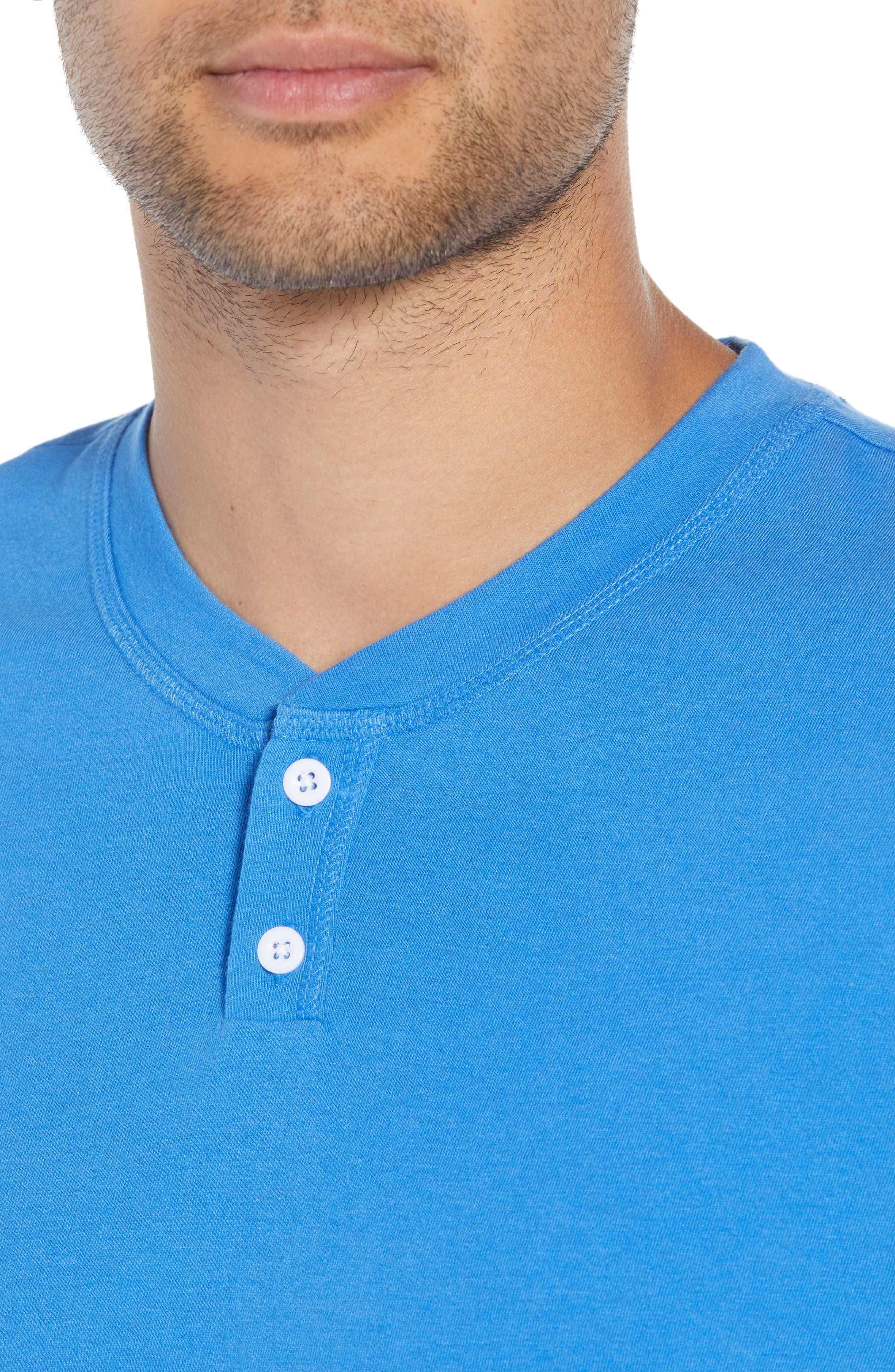 Solid Henley T-Shirt,                             Alternate thumbnail 4, color,                             BLUE BLISS