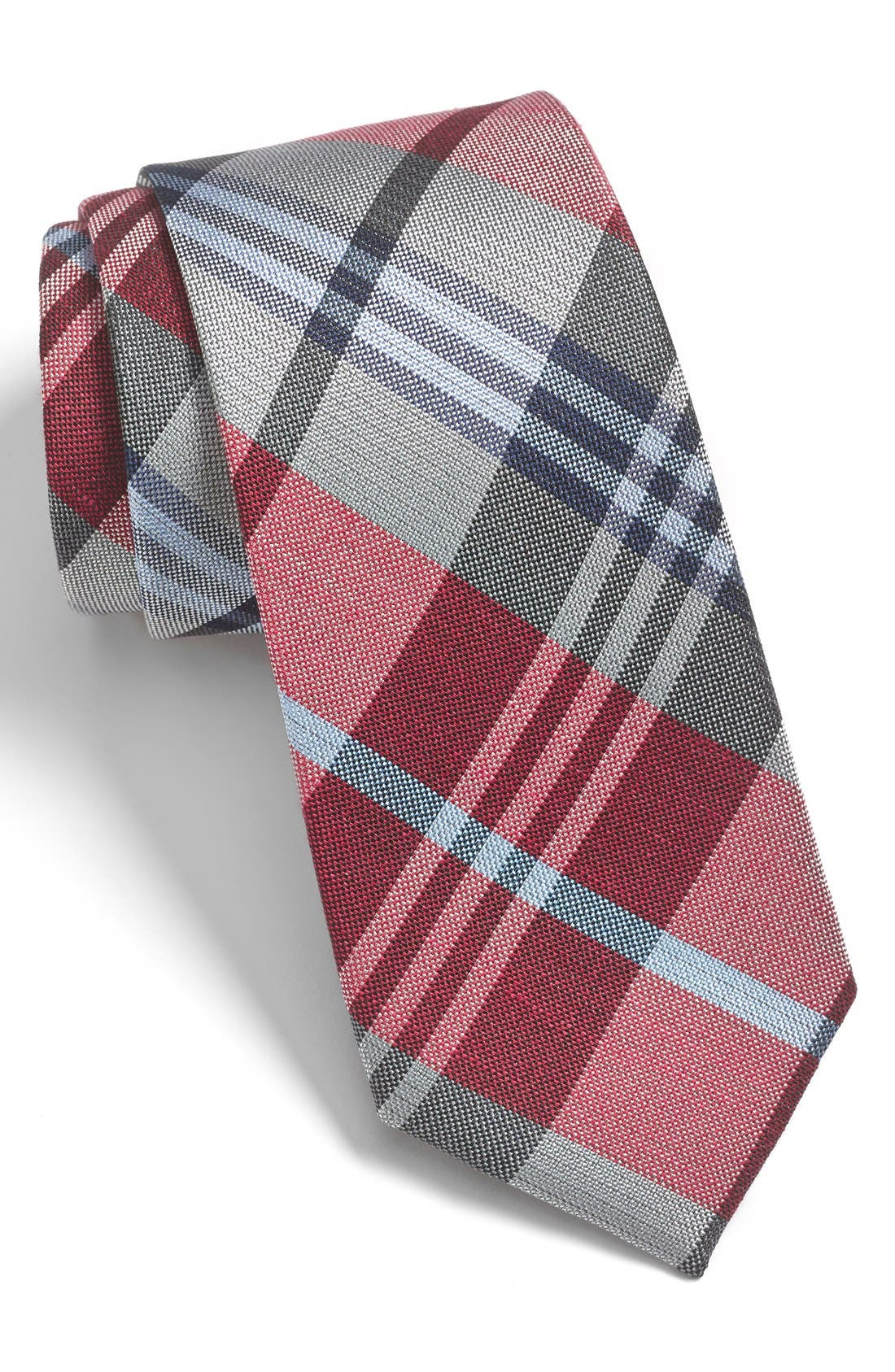 'Crystal Wave' Silk & Linen Plaid Tie,                         Main,                         color, RED/ SILVER