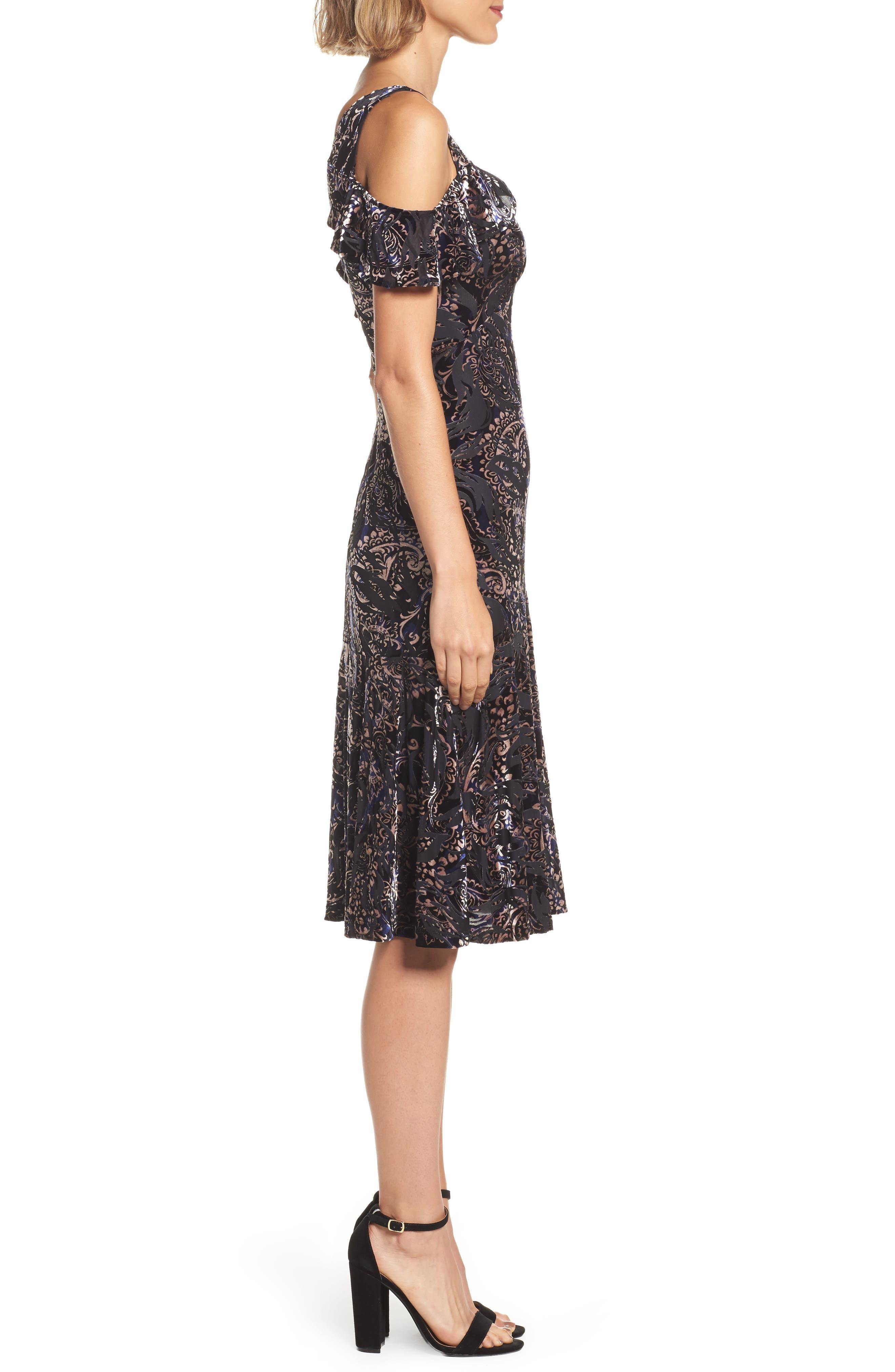 Cold Shoulder Velvet Burnout Dress,                             Alternate thumbnail 3, color,                             400