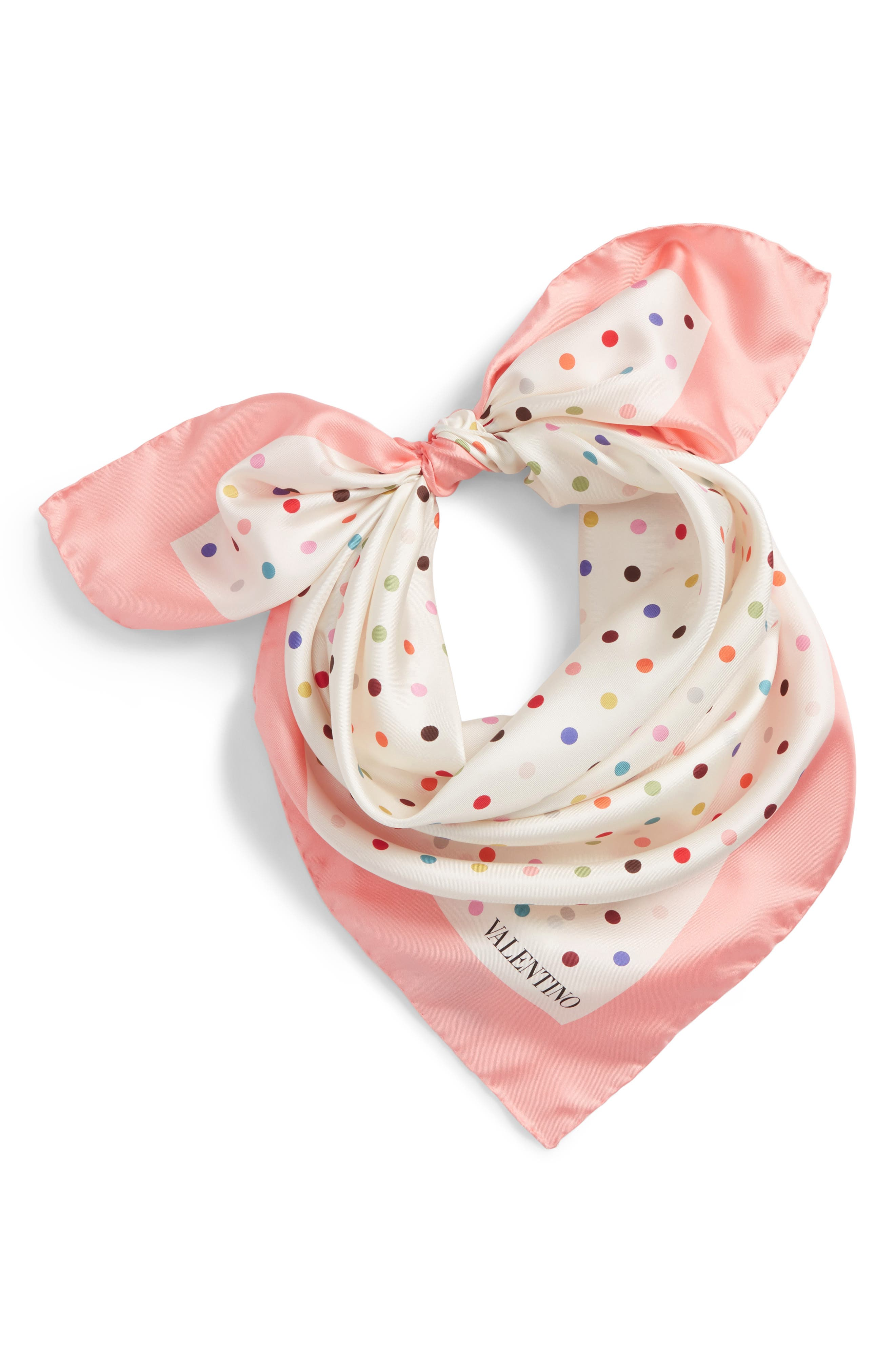 Rainbow Dots Silk Scarf,                             Alternate thumbnail 4, color,