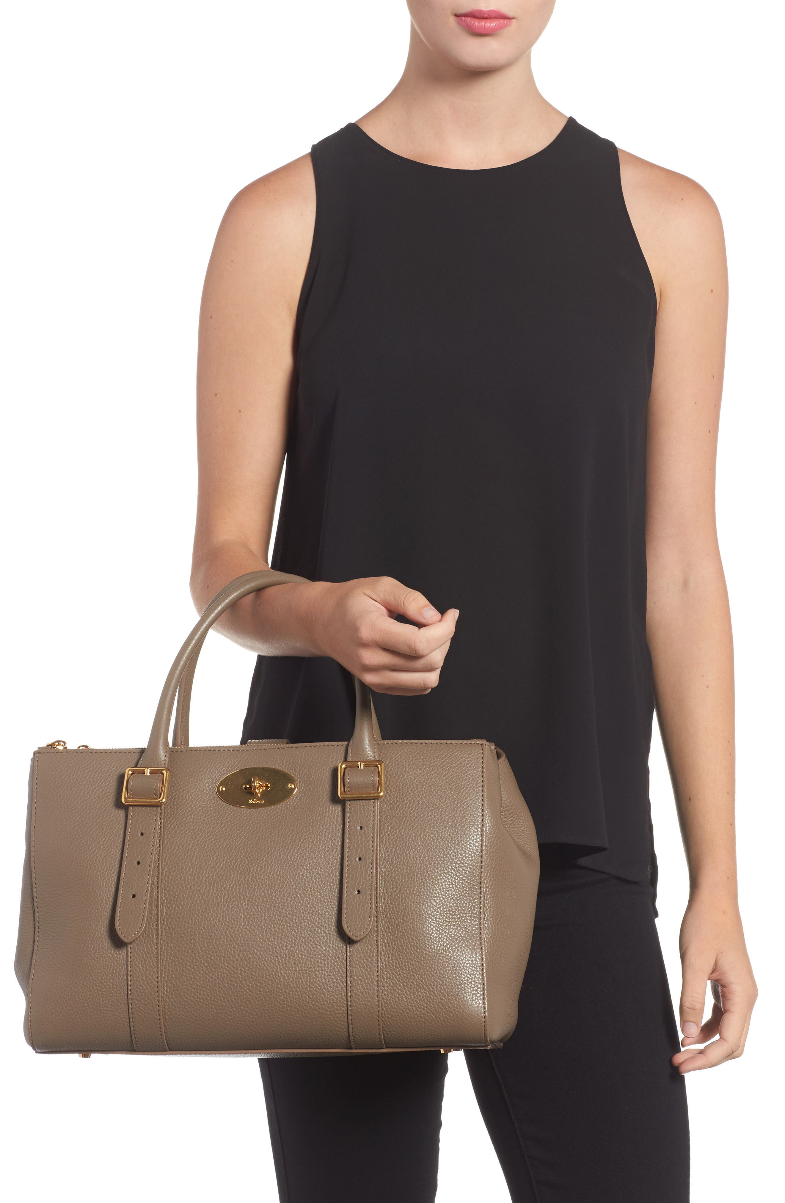 Bayswater Double Zip Leather Satchel,                             Alternate thumbnail 4, color,
