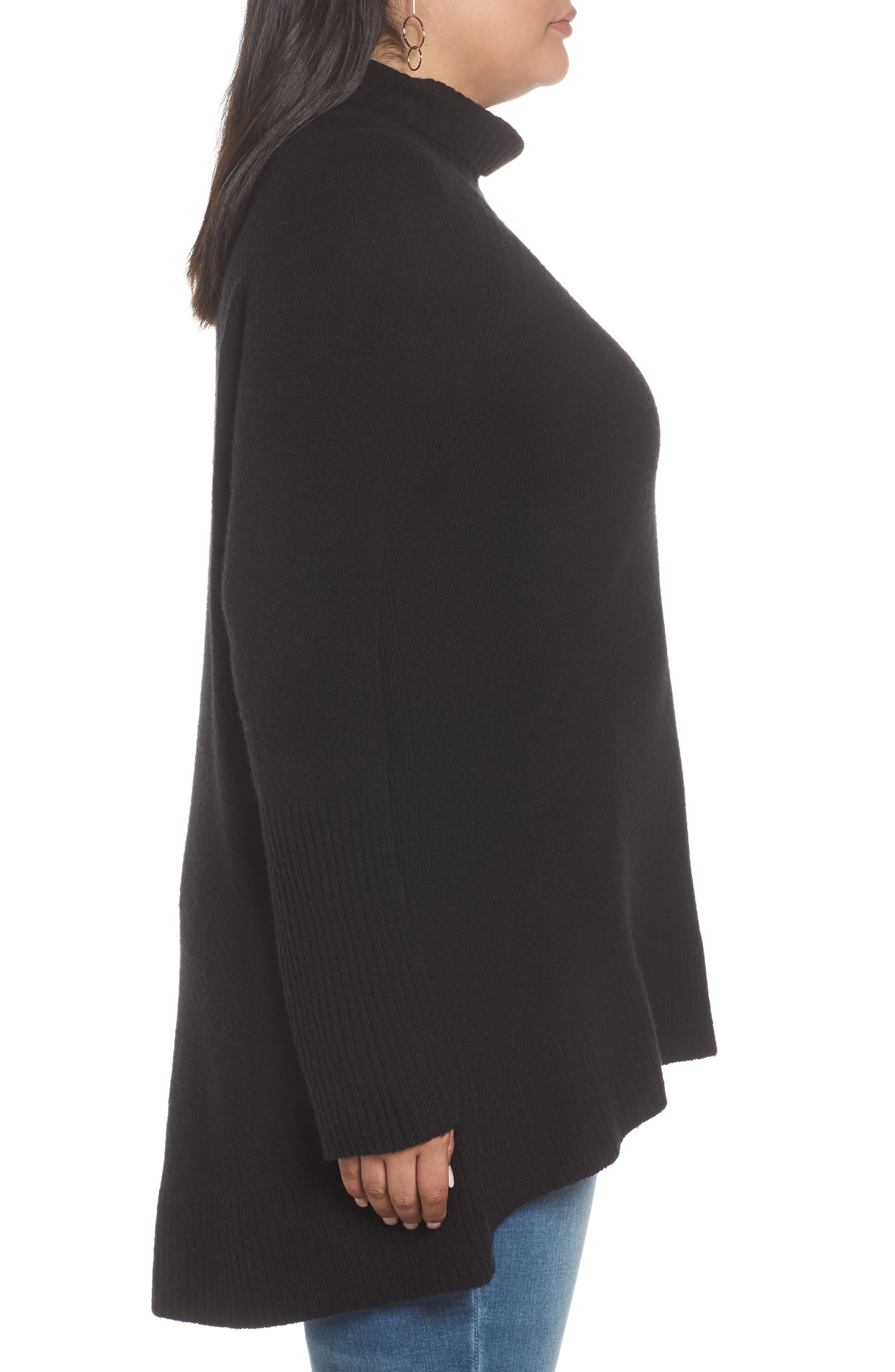 High Low Oversize Wool Blend Sweater,                             Alternate thumbnail 9, color,                             BLACK