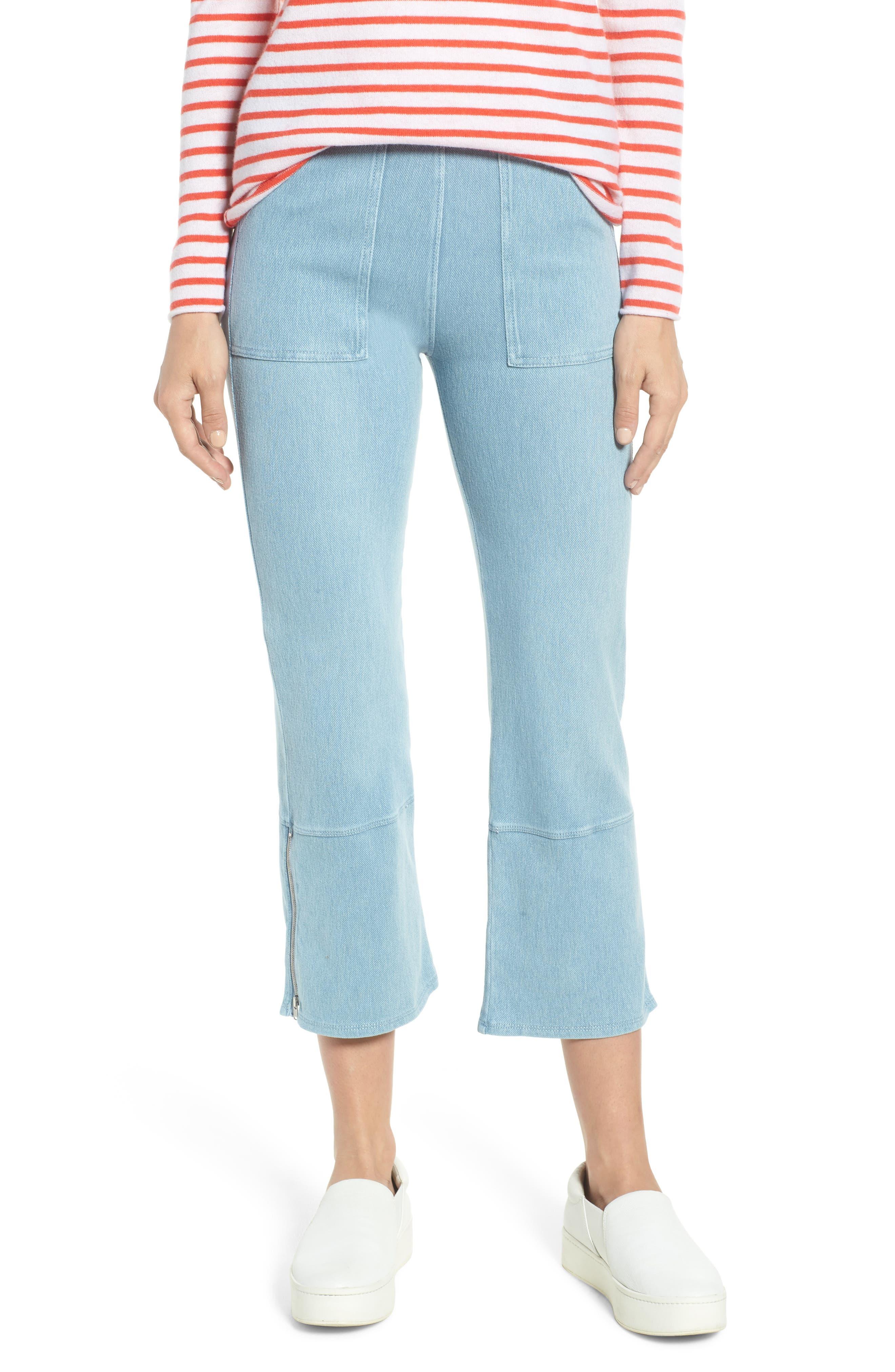 Lysse Seamed Flare Leg Crop Denim Leggings, Blue