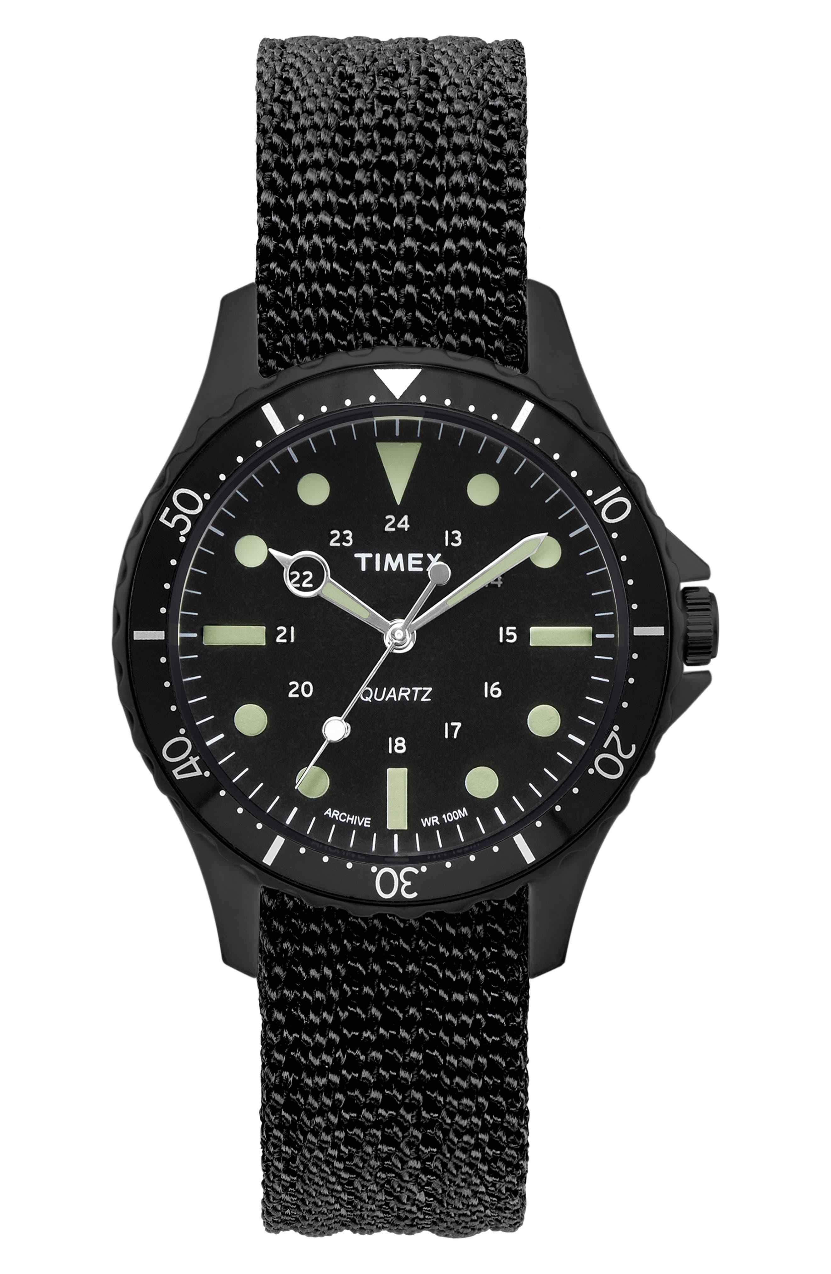 Timex<sup>®</sup> Navi Harbor NATO Strap Watch, 38mm,                         Main,                         color, BLACK