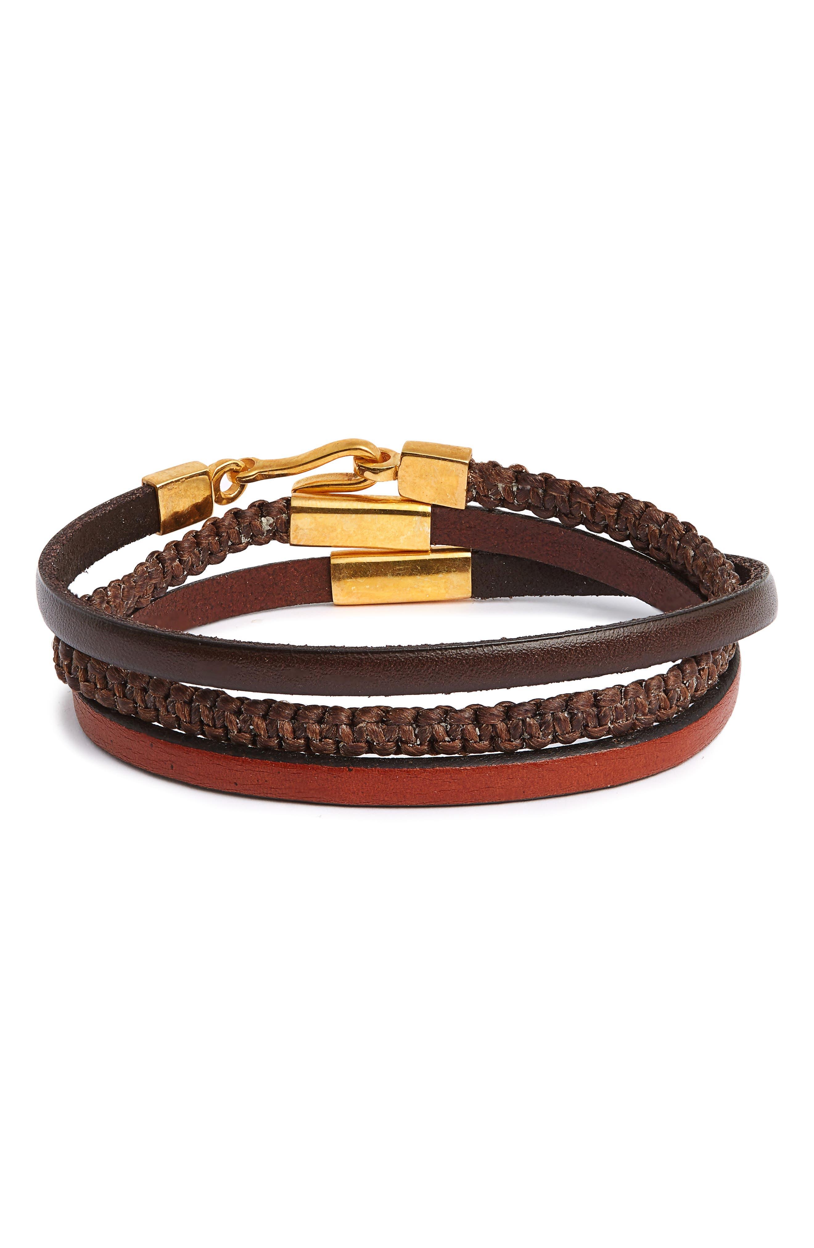 Leather Wrap Bracelet,                             Main thumbnail 1, color,                             200