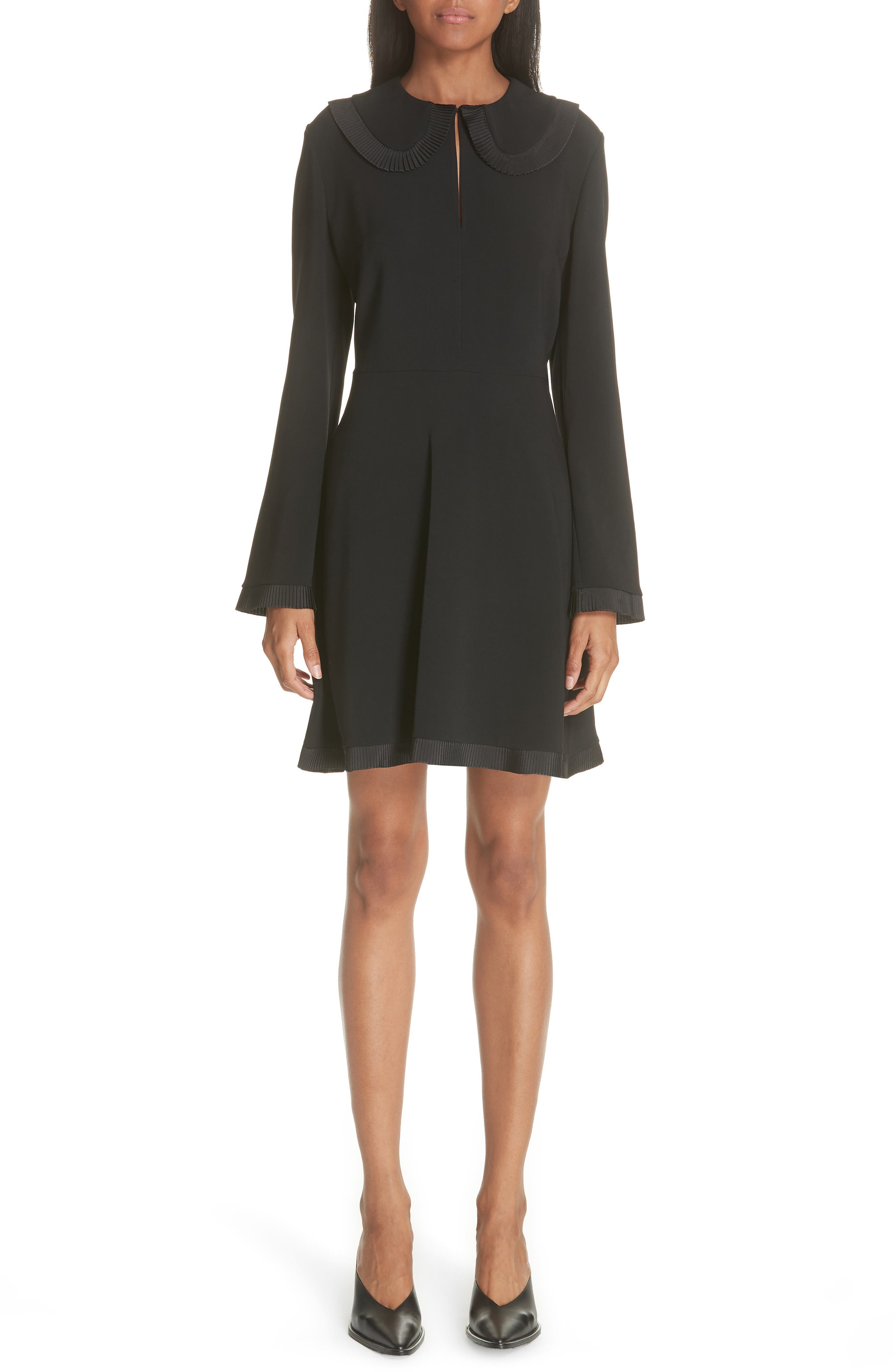 Ruffle Trim Keyhole Dress,                             Main thumbnail 1, color,                             BLACK