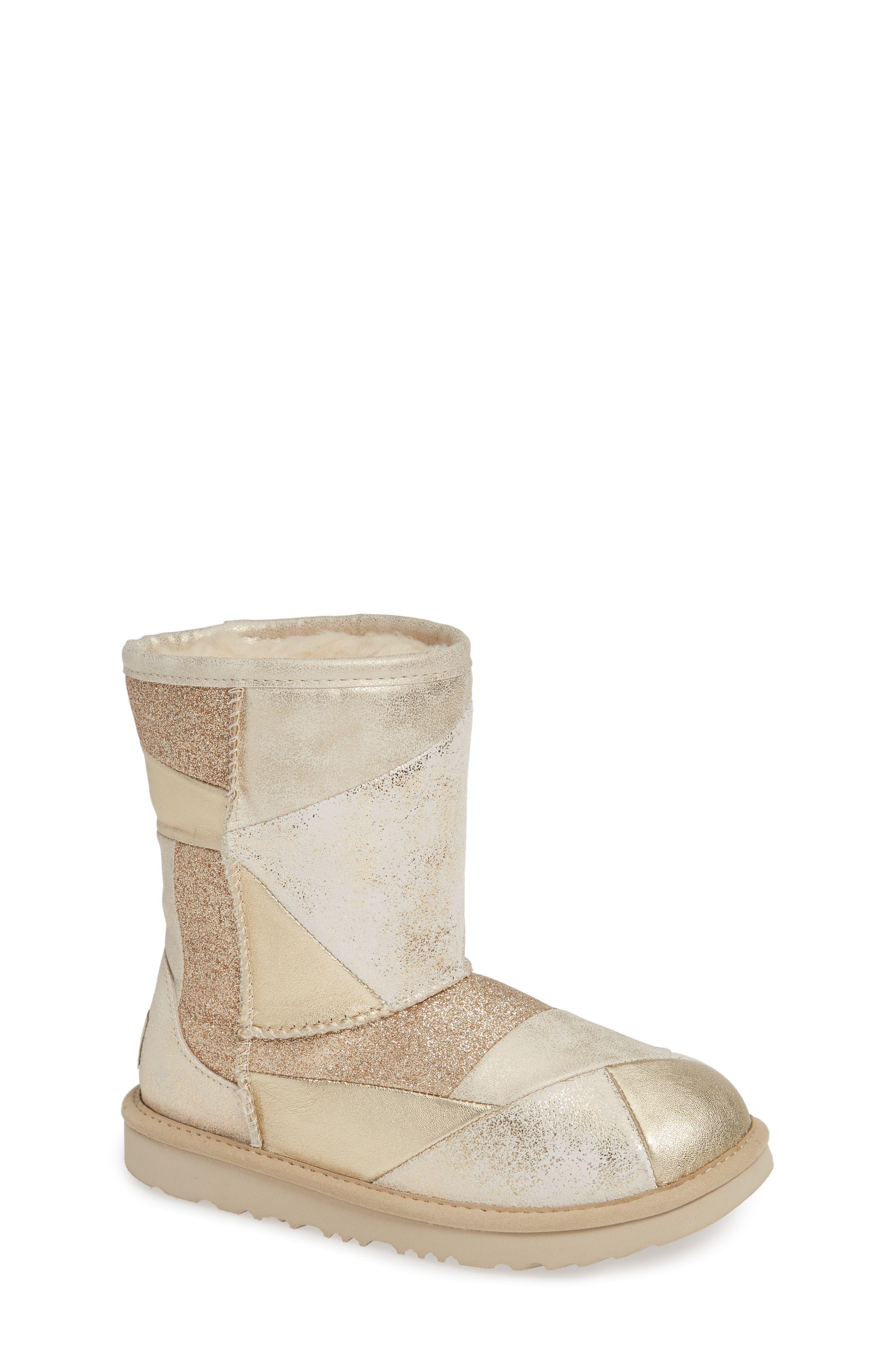 Classic Short II Metallic Patchwork Boot,                             Main thumbnail 1, color,                             GOLD