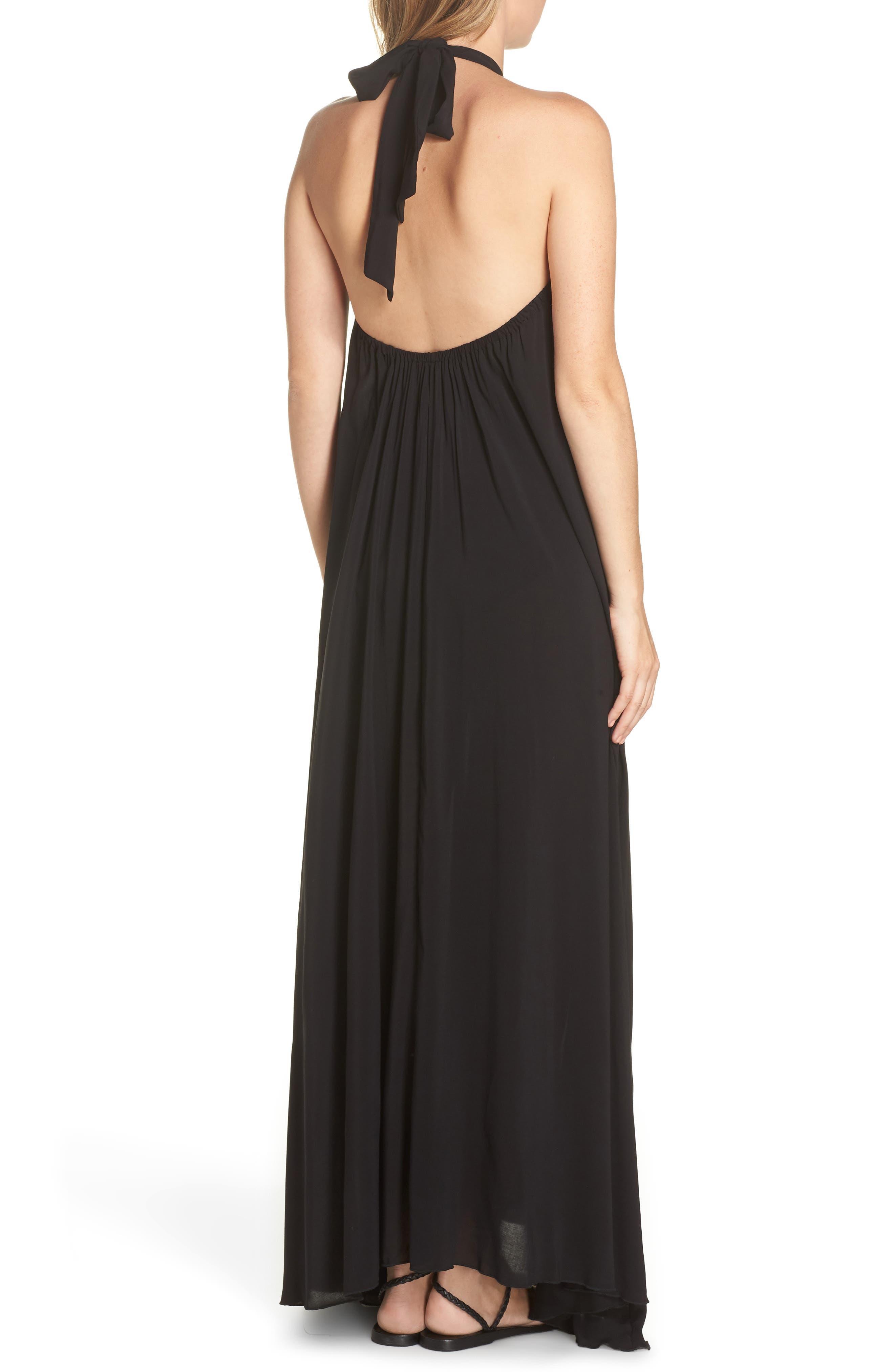 Cover-Up Maxi Dress,                             Alternate thumbnail 2, color,                             BLACK
