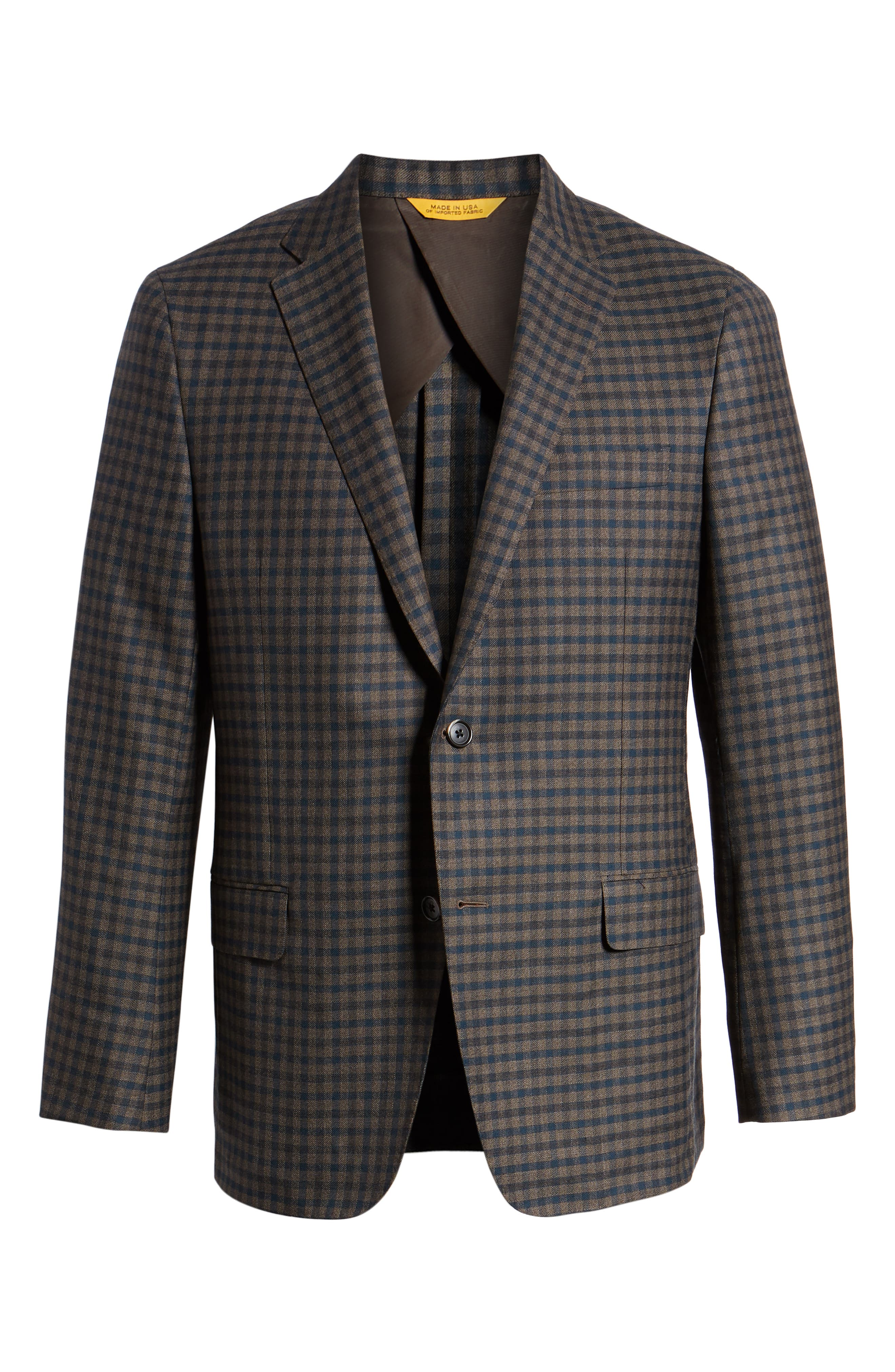 Classic B-Fit Check Wool Sport Coat,                             Alternate thumbnail 5, color,                             MEDIUM BROWN