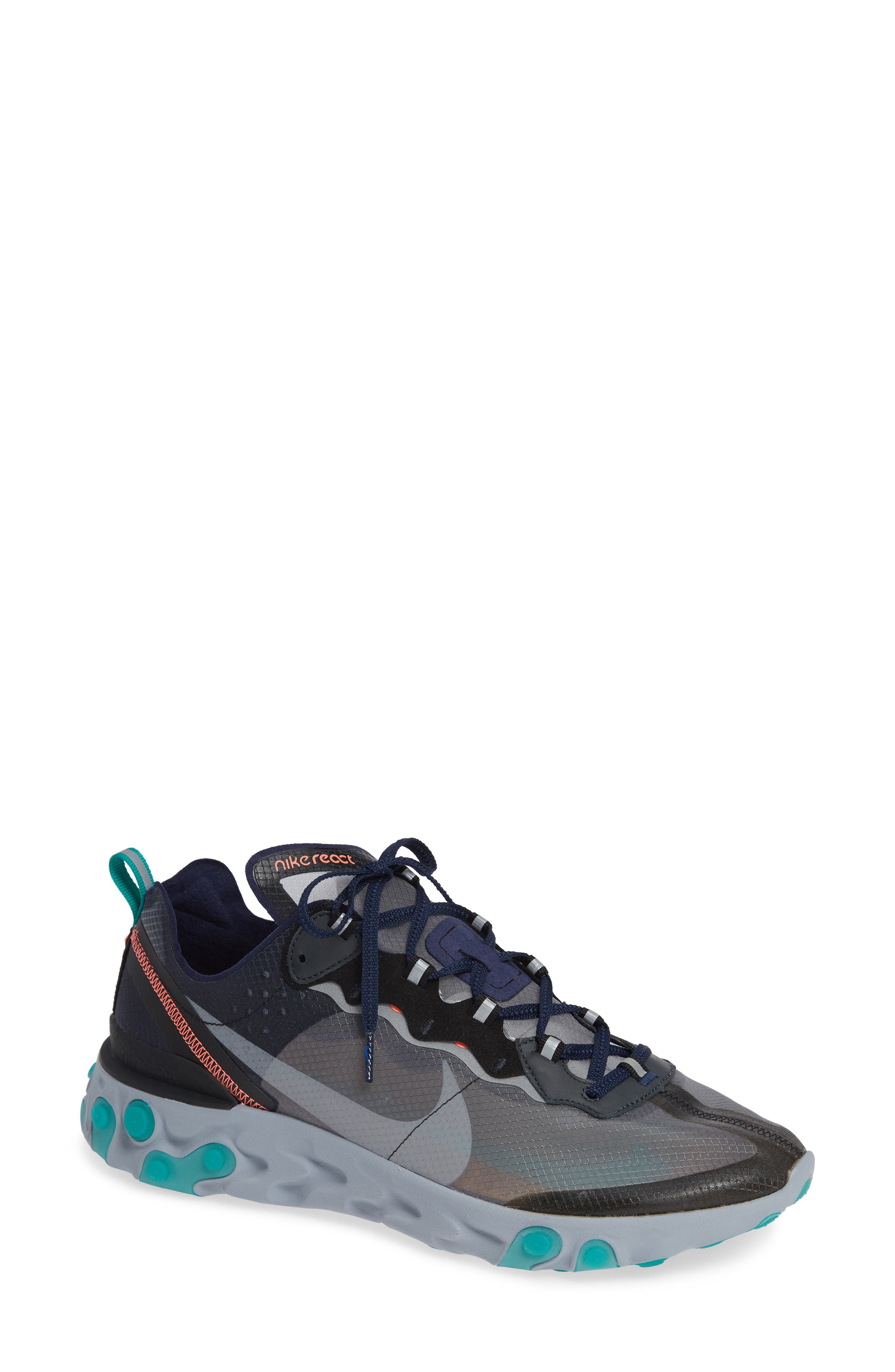 React Element 87 Sneaker,                             Main thumbnail 1, color,                             BLACK/ MIDNIGHT NAVY/ GREEN