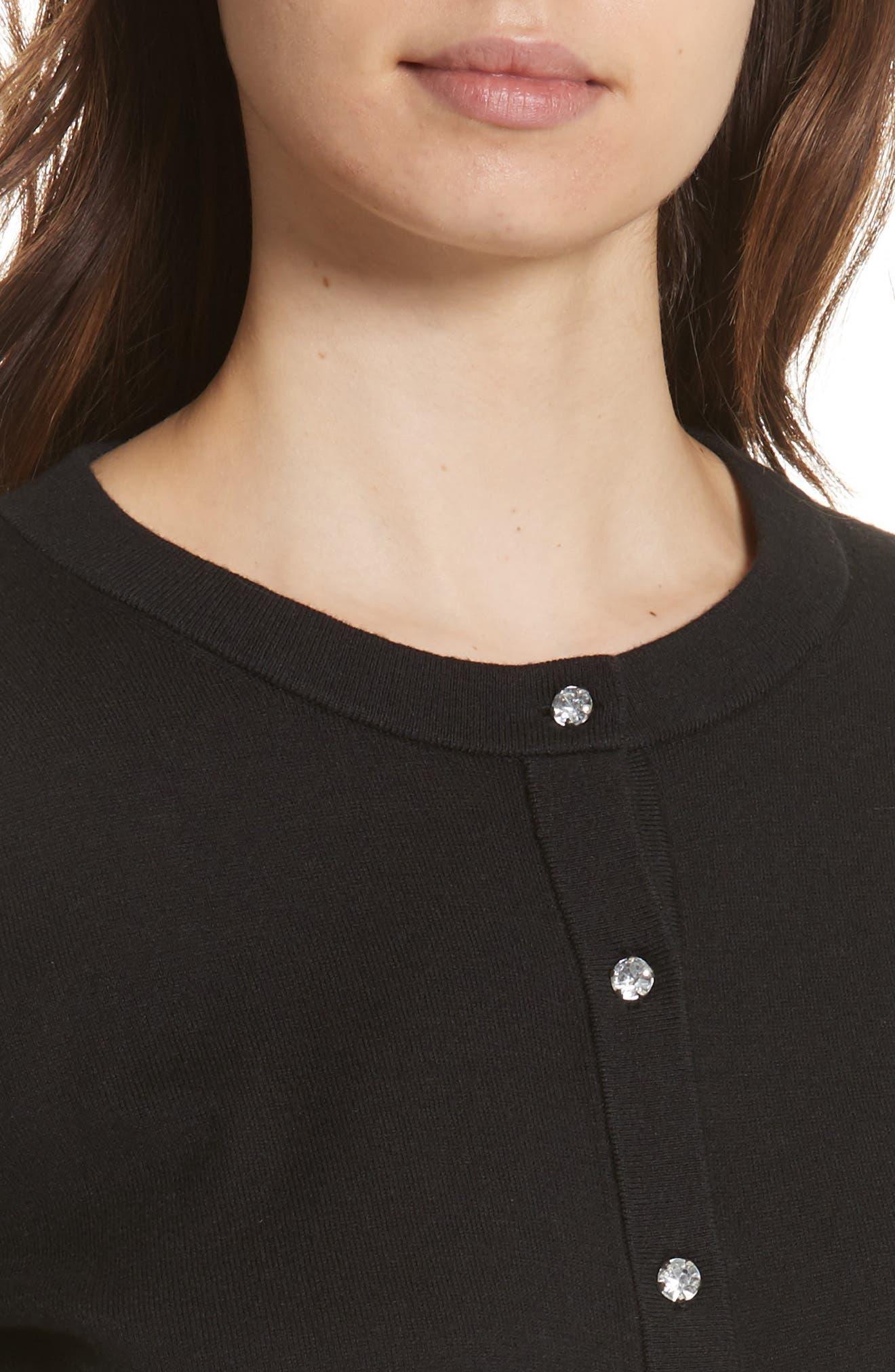 jewel button crop cardigan,                             Alternate thumbnail 4, color,                             BLACK