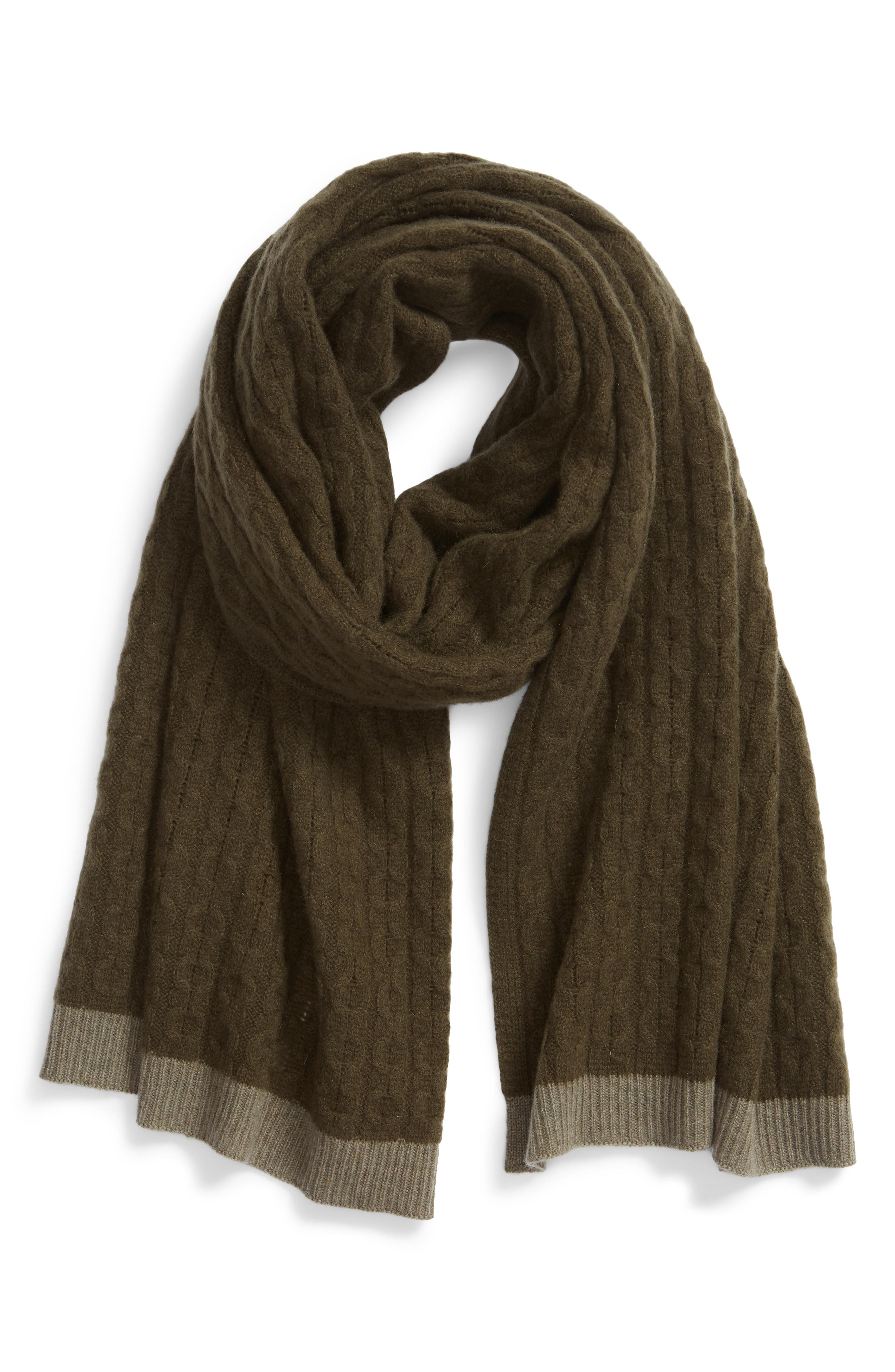 Cable Knit Cashmere Scarf,                             Alternate thumbnail 2, color,                             OLIVE COMBO