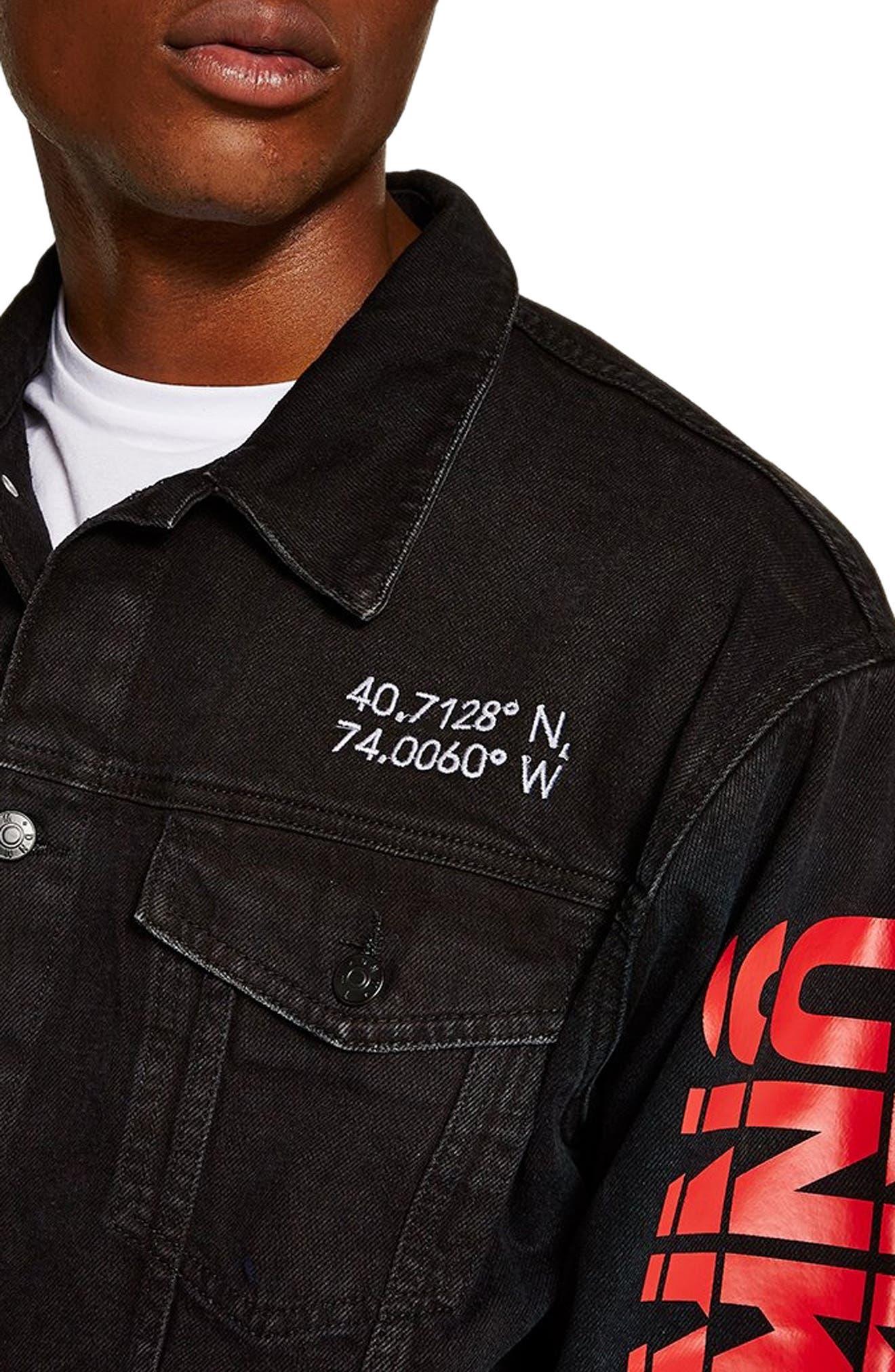 Unknown Destination Oversize Denim Jacket,                             Alternate thumbnail 3, color,                             001