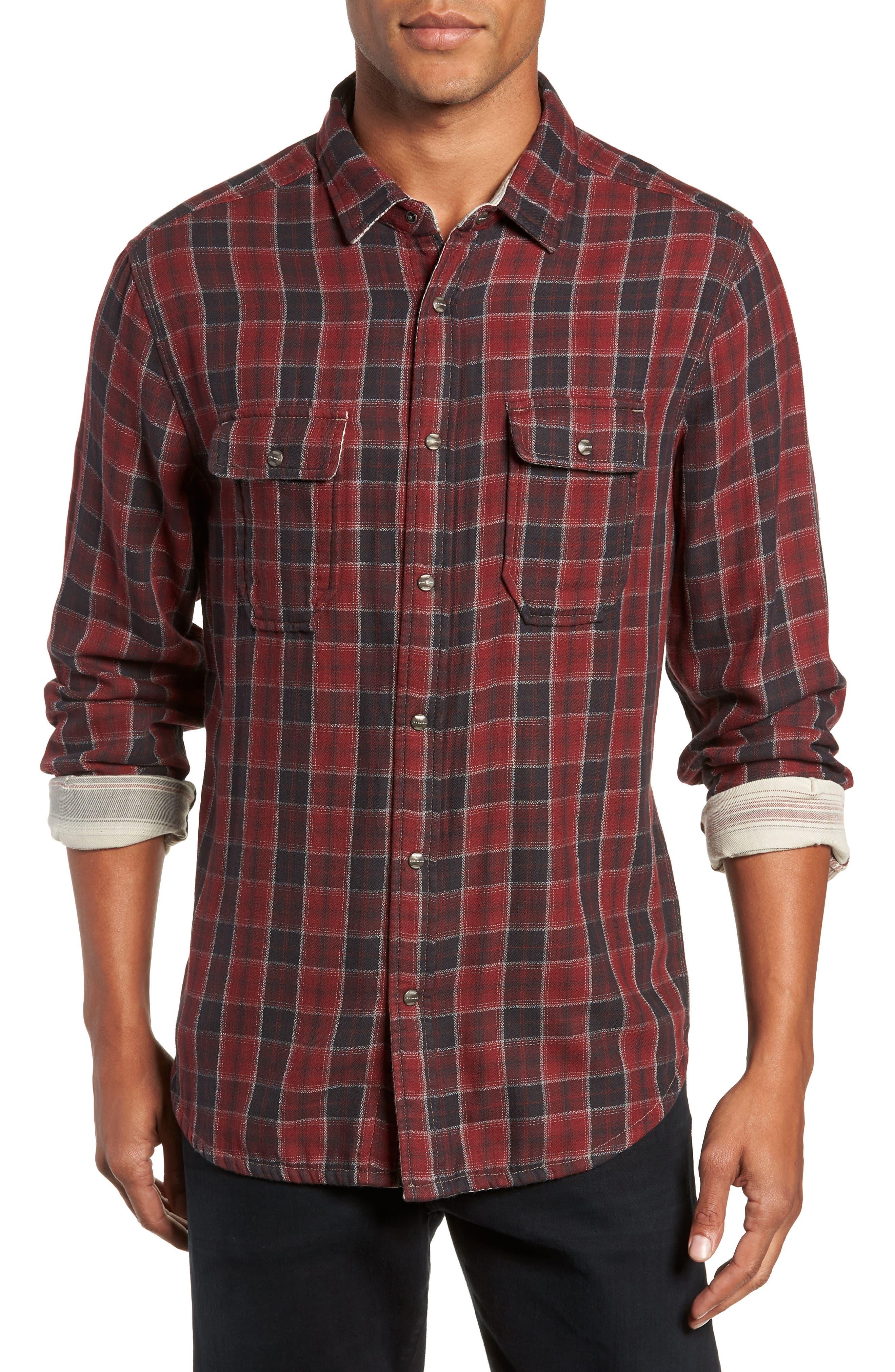Boulder Regular Fit Reversible Plaid Shirt,                         Main,                         color, OXBLOOD