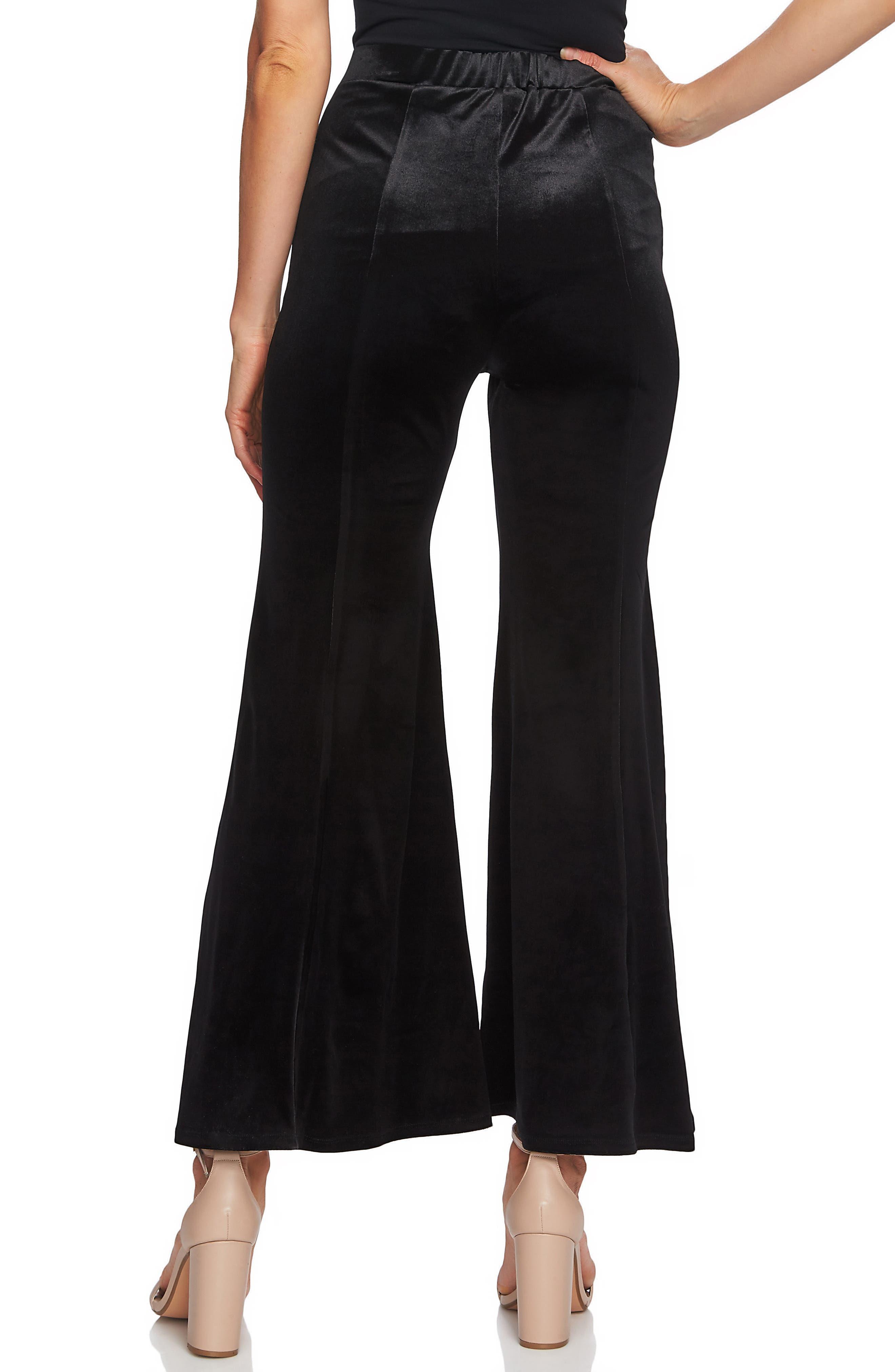 Velveteen Flare Leg Pants,                             Alternate thumbnail 2, color,                             RICH BLACK