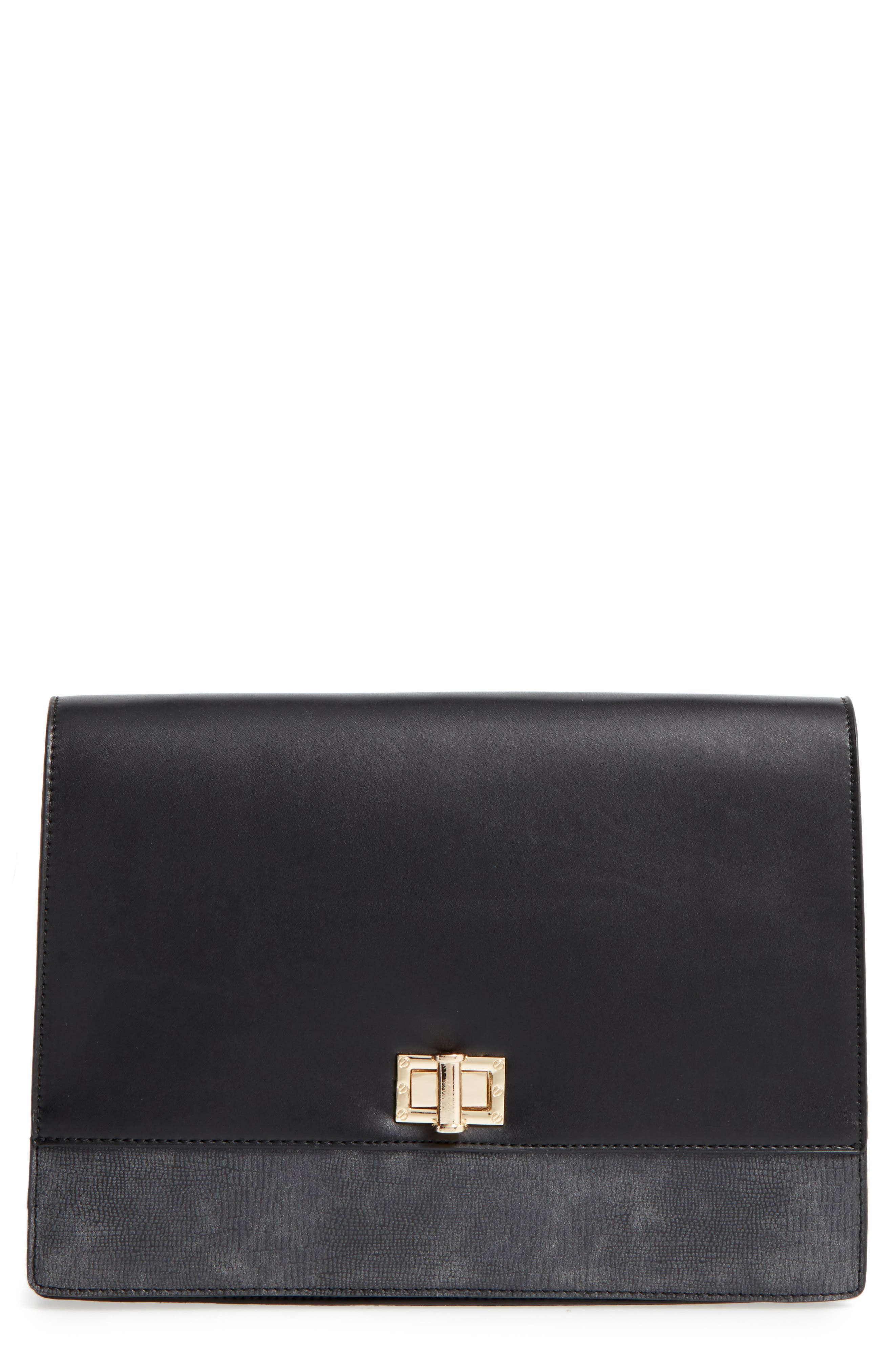Kaitlyn Faux Leather Clutch, Main, color, 001