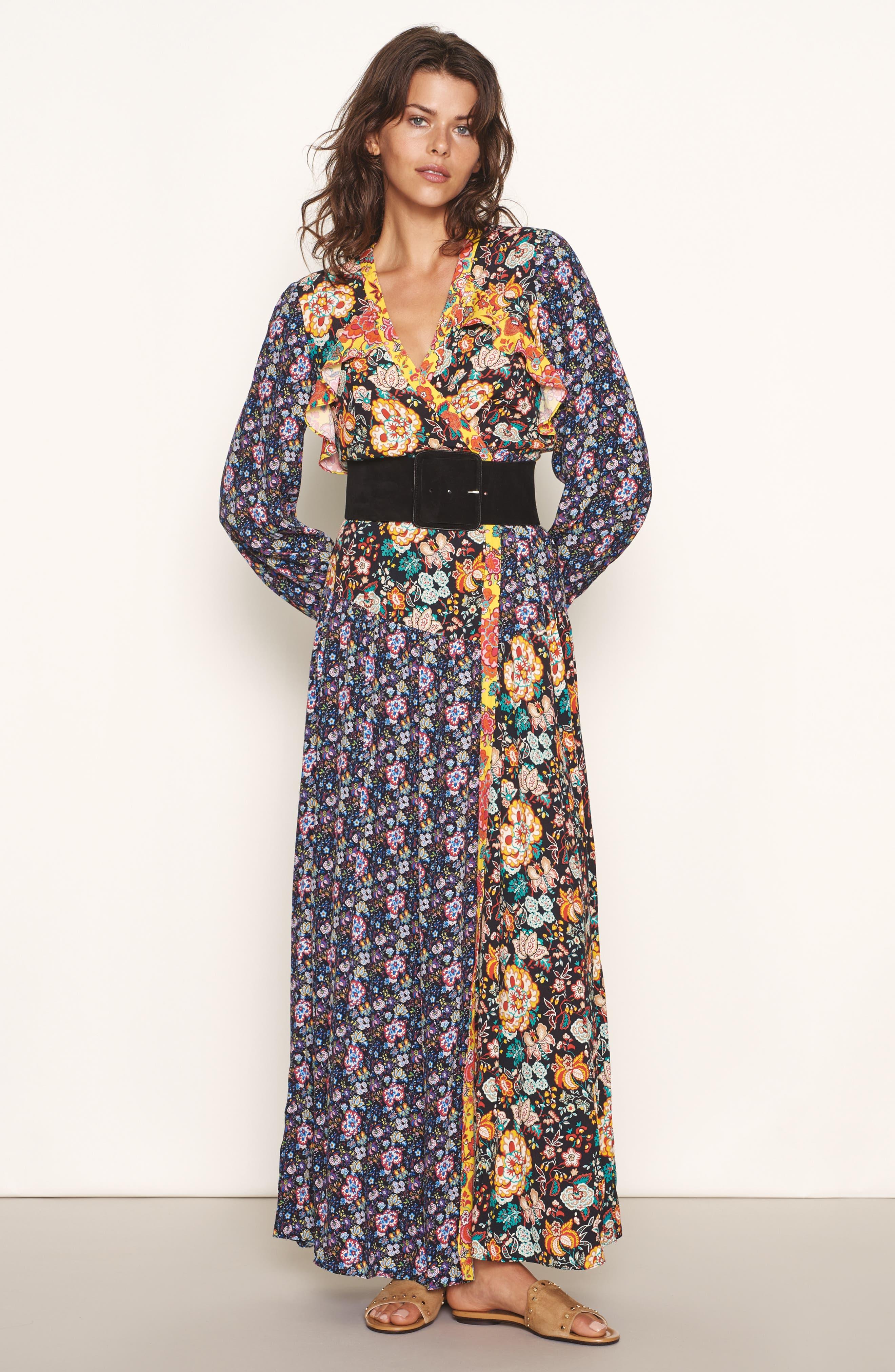 Mixed Floral Wrap Dress,                             Alternate thumbnail 8, color,