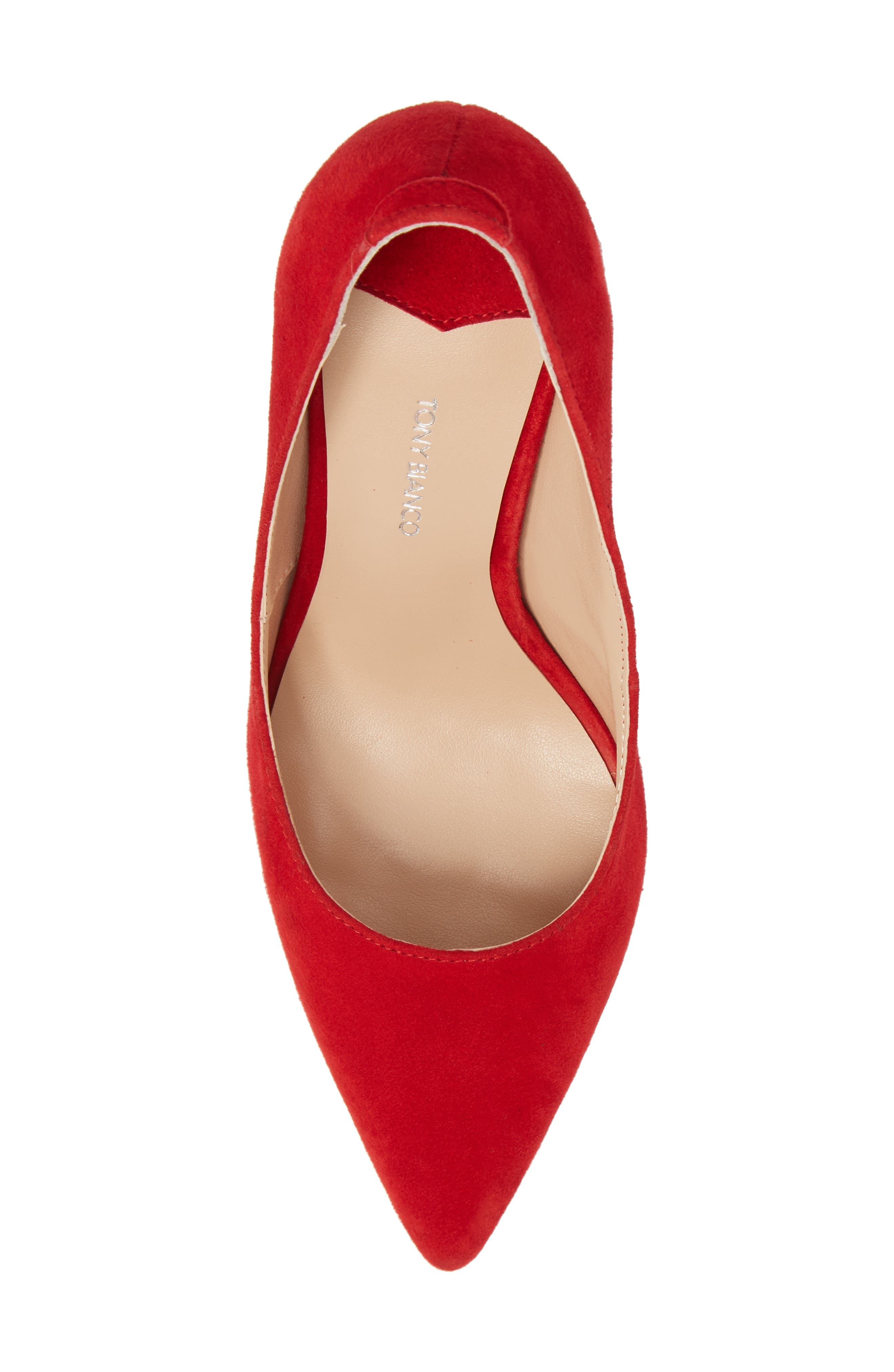Lotus Pointy Toe Pump,                             Alternate thumbnail 5, color,                             FIRE SUEDE