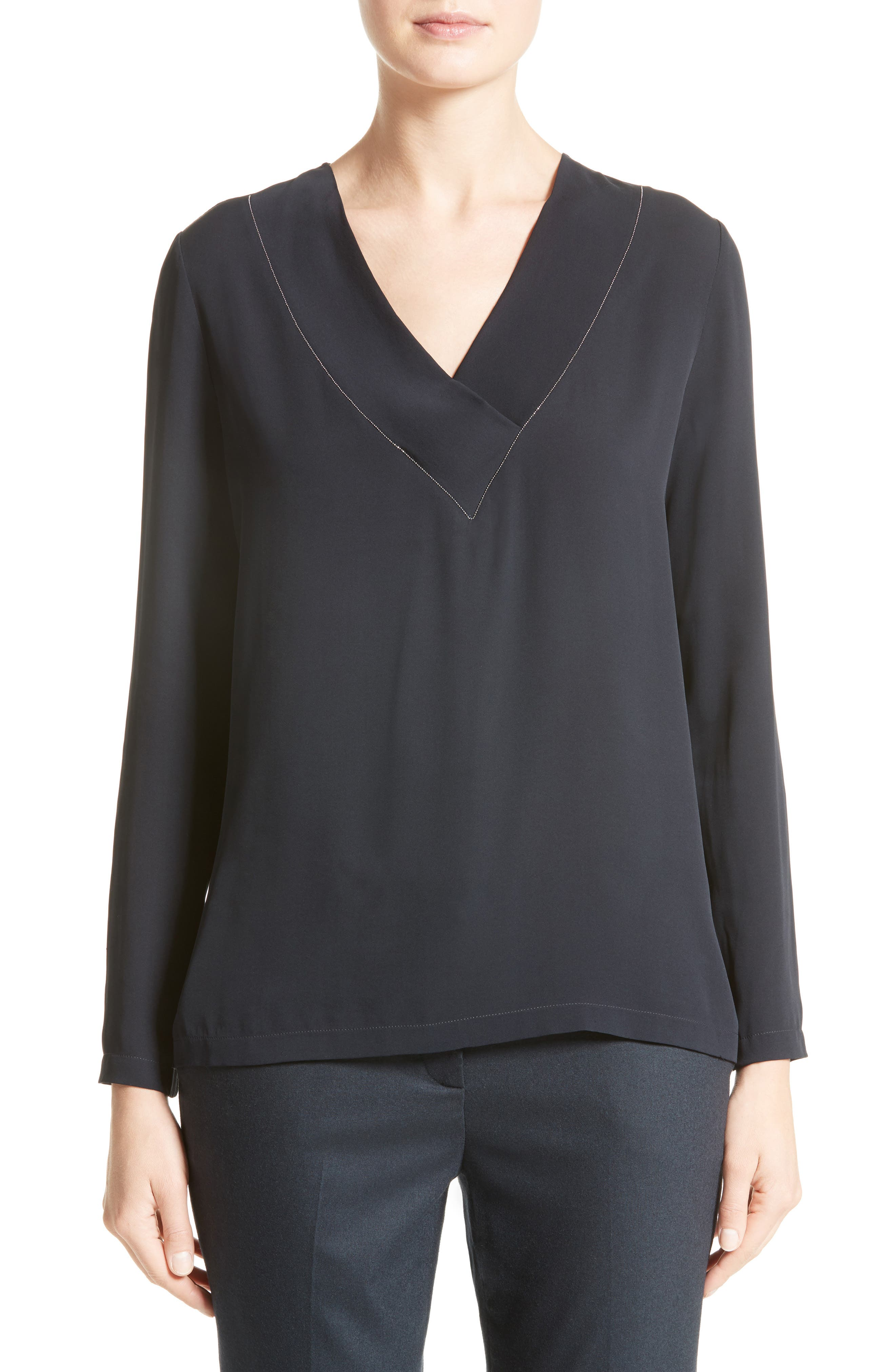 Embellished Stretch Silk Blouse,                             Main thumbnail 1, color,                             401