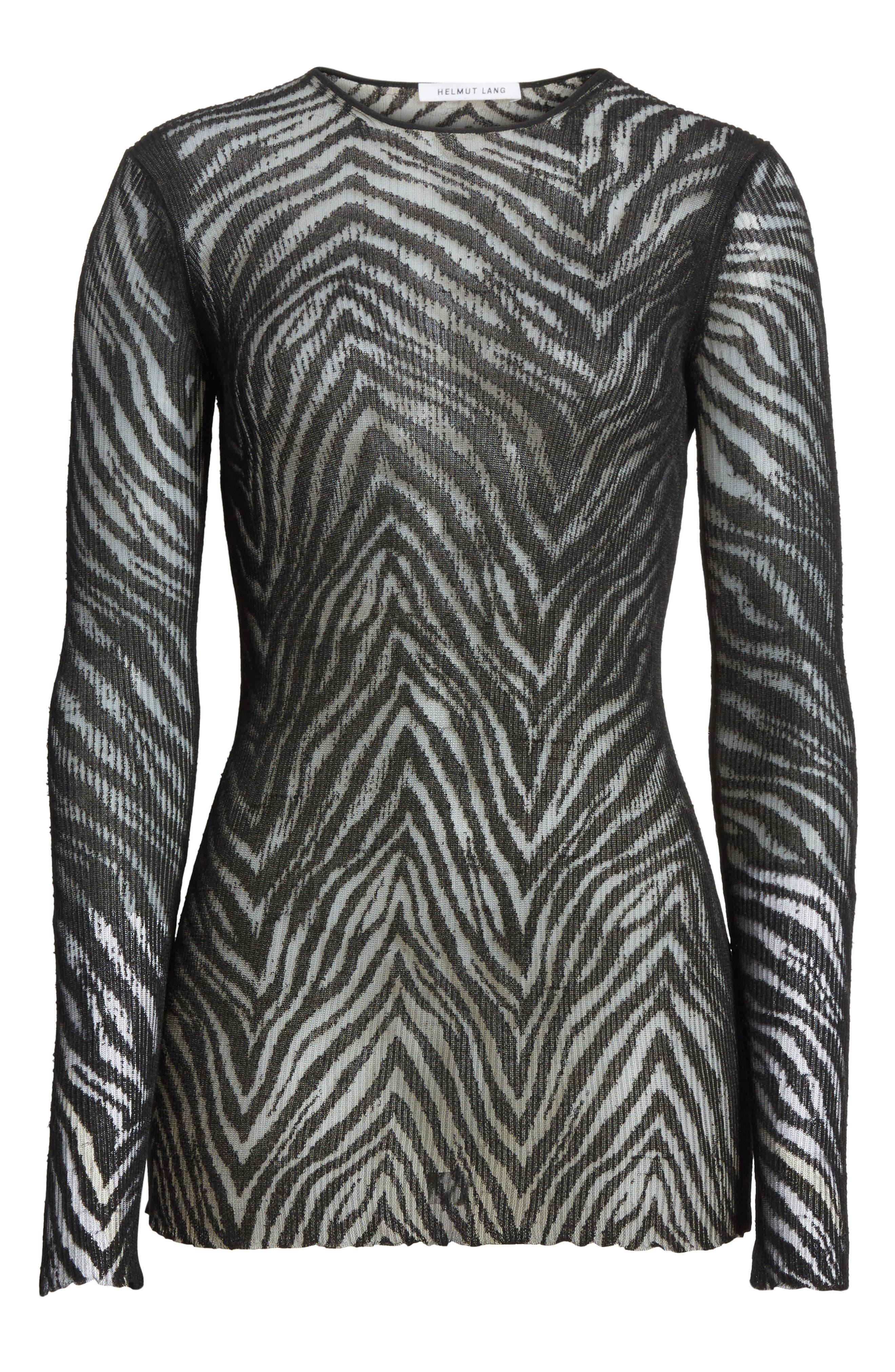 Zebra Knit Pullover,                             Alternate thumbnail 6, color,                             001