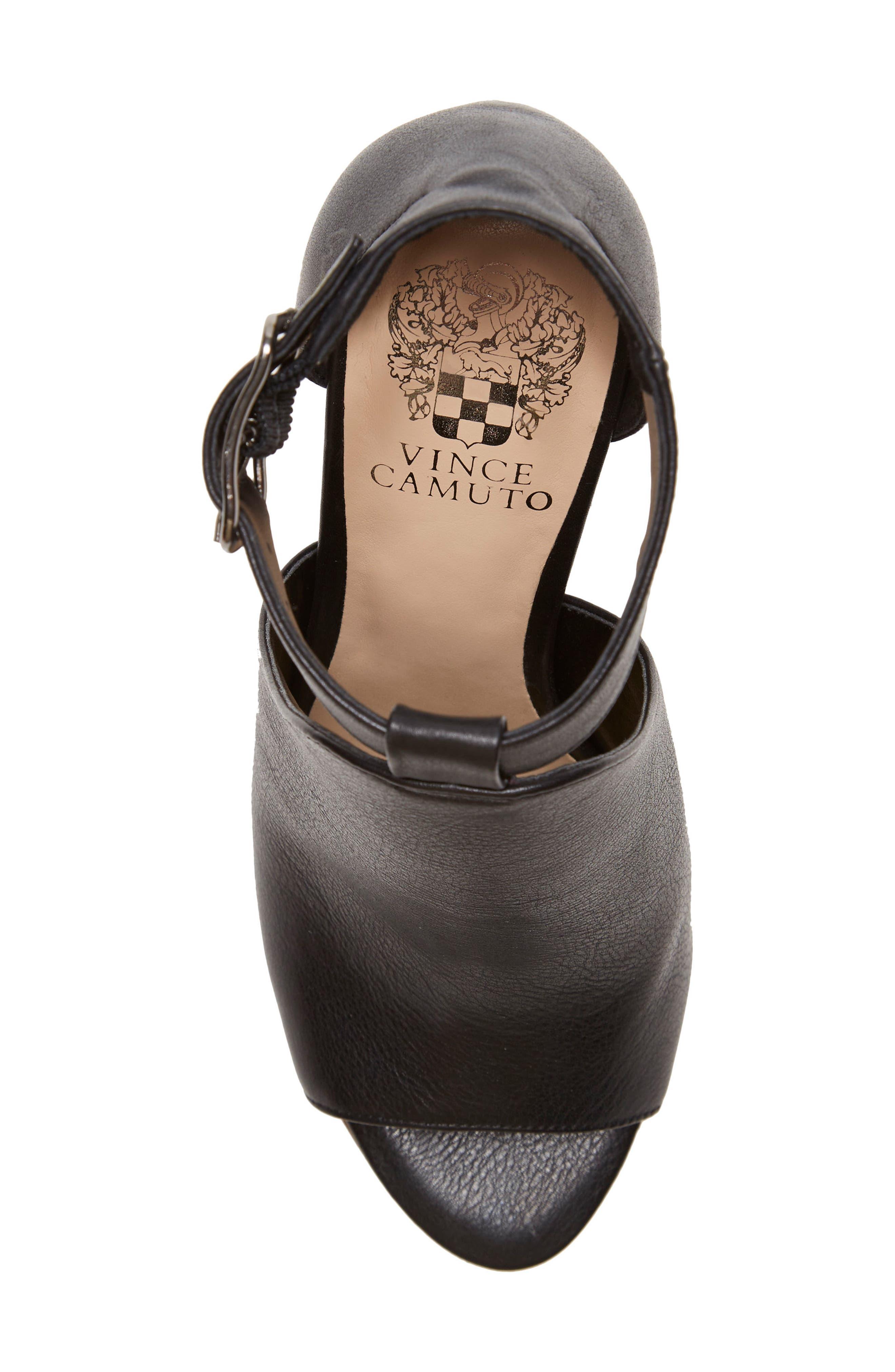 Adaren Peep Toe Sandal,                             Alternate thumbnail 5, color,                             BLACK LEATHER