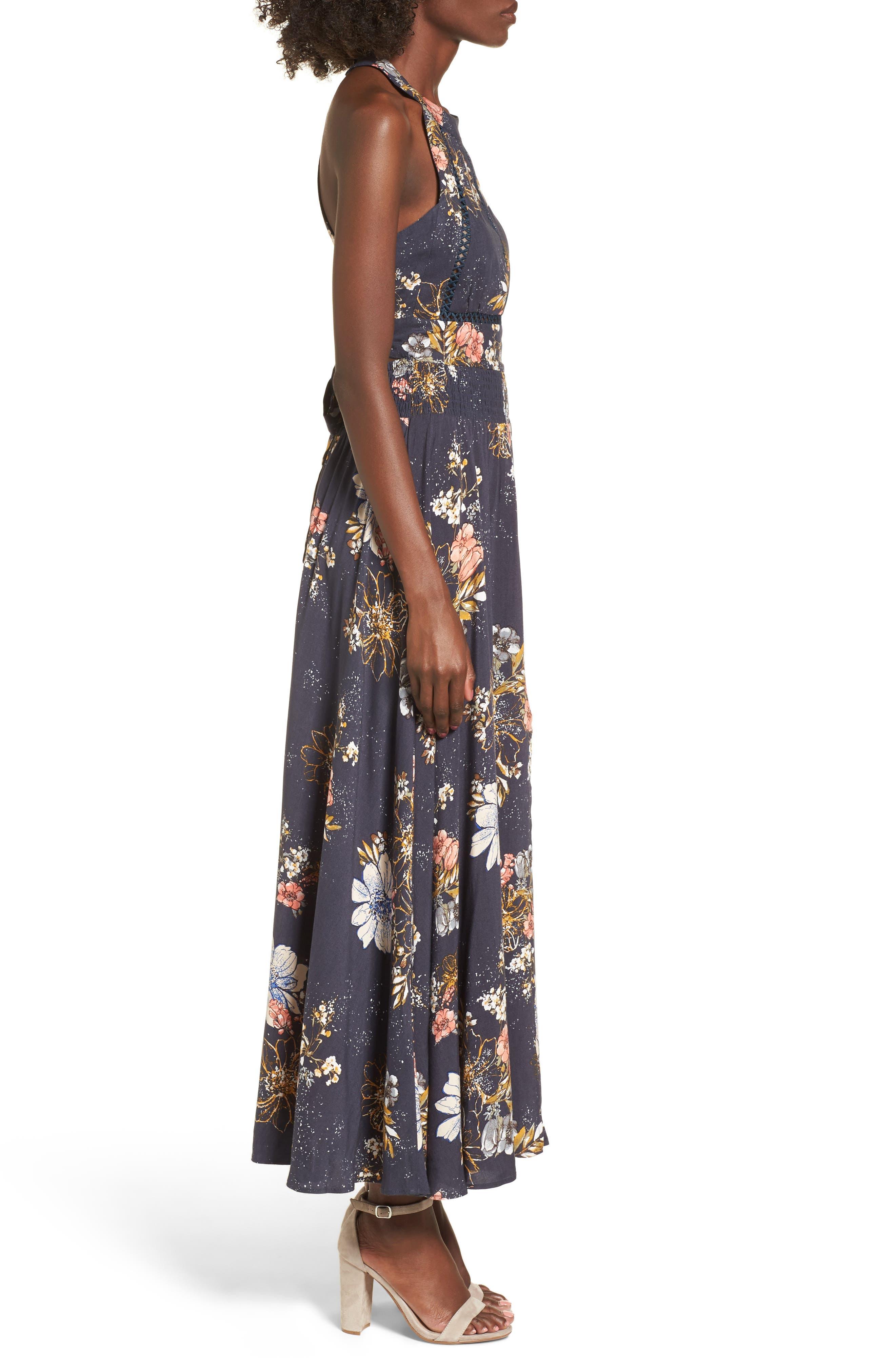 BP.,                             Floral Print Halter Maxi Dress,                             Alternate thumbnail 3, color,                             410