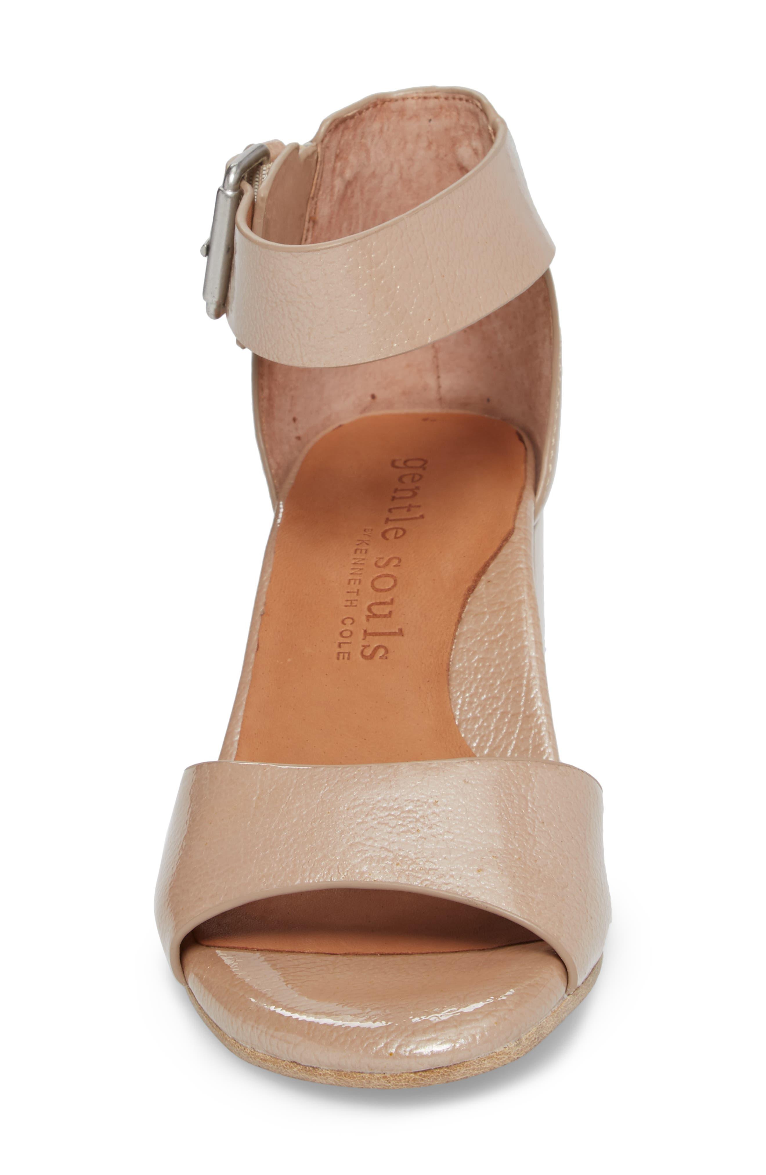 Christa Block Heel Sandal,                             Alternate thumbnail 4, color,                             NUDE PATENT LEATHER
