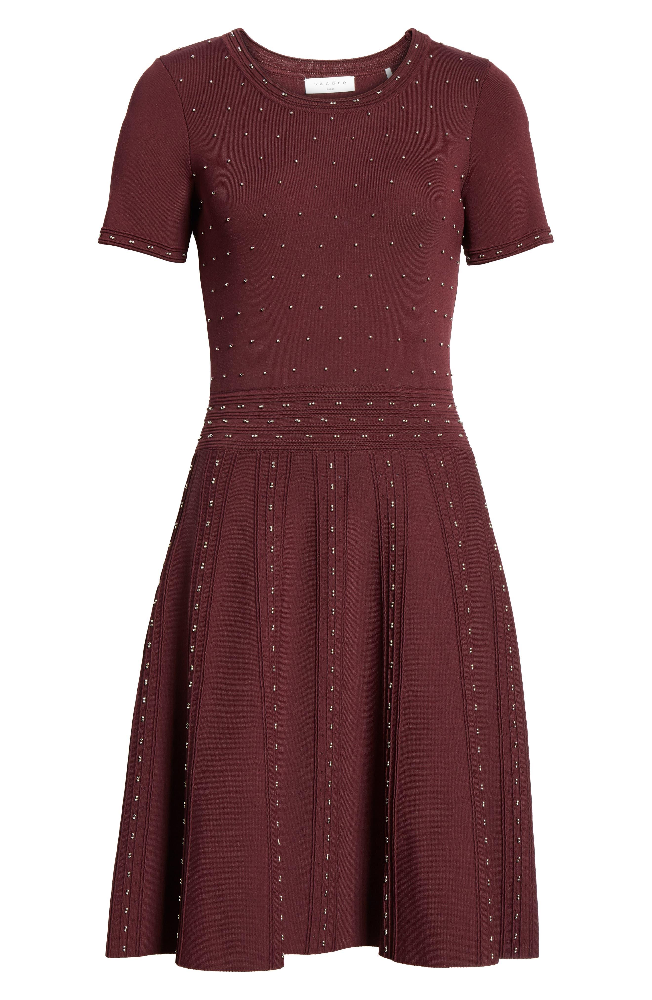 Montaigne Metallic Bead Fit & Flare Dress,                             Alternate thumbnail 6, color,                             613