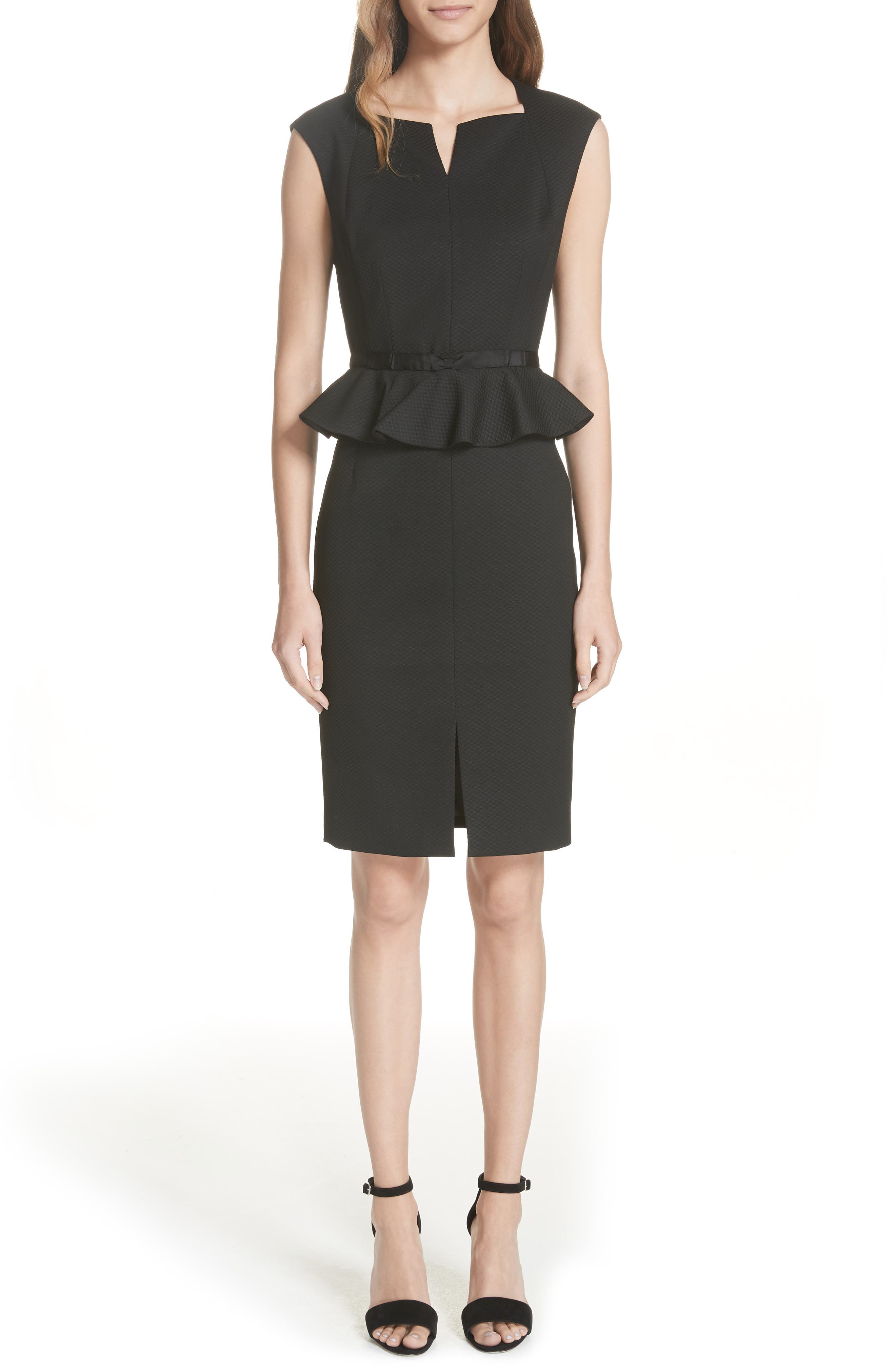 Ted Working Title Textured Peplum Dress,                             Main thumbnail 1, color,                             BLACK