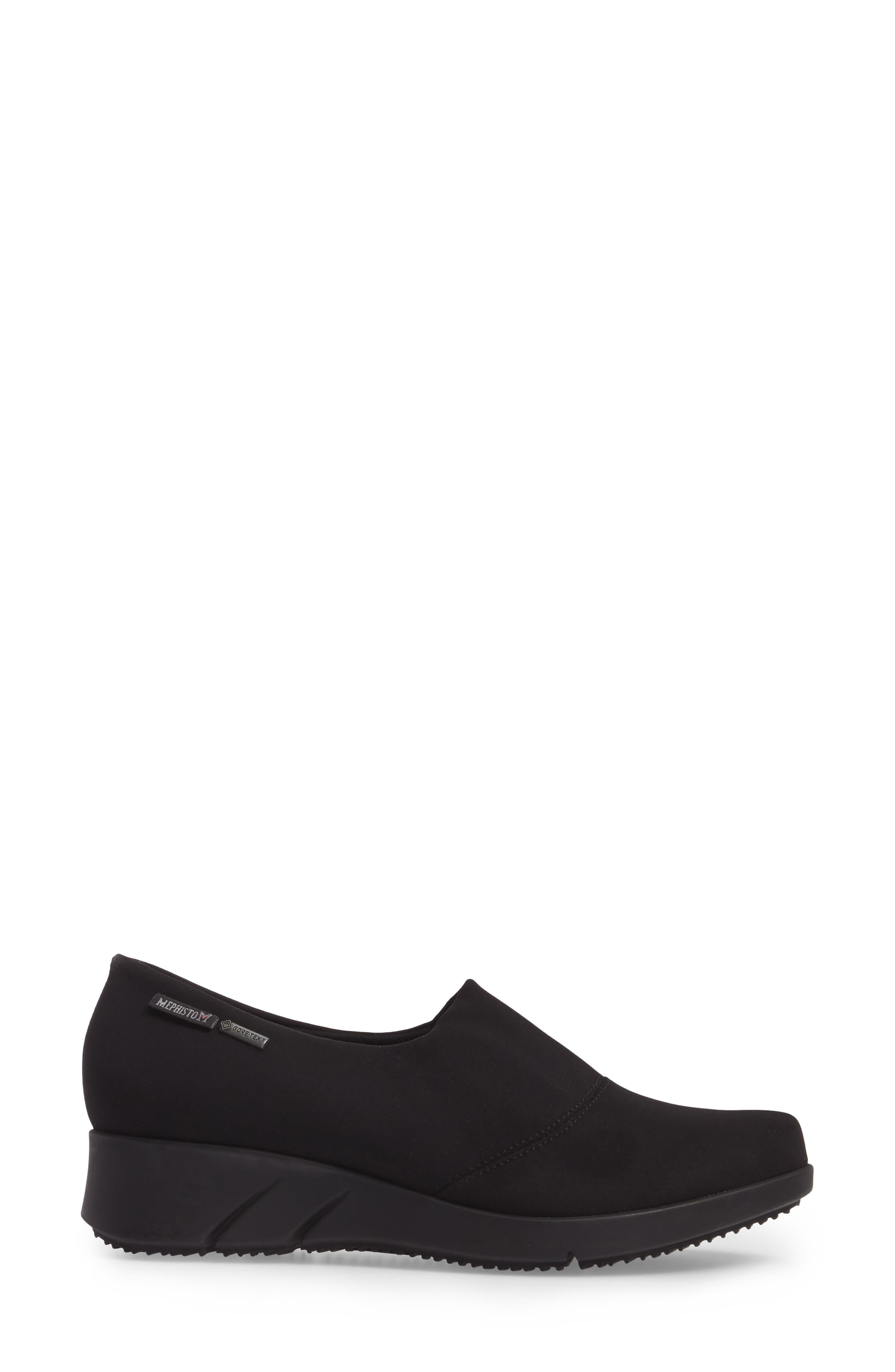 Molly Waterproof Wedge,                             Alternate thumbnail 3, color,                             BLACK FABRIC