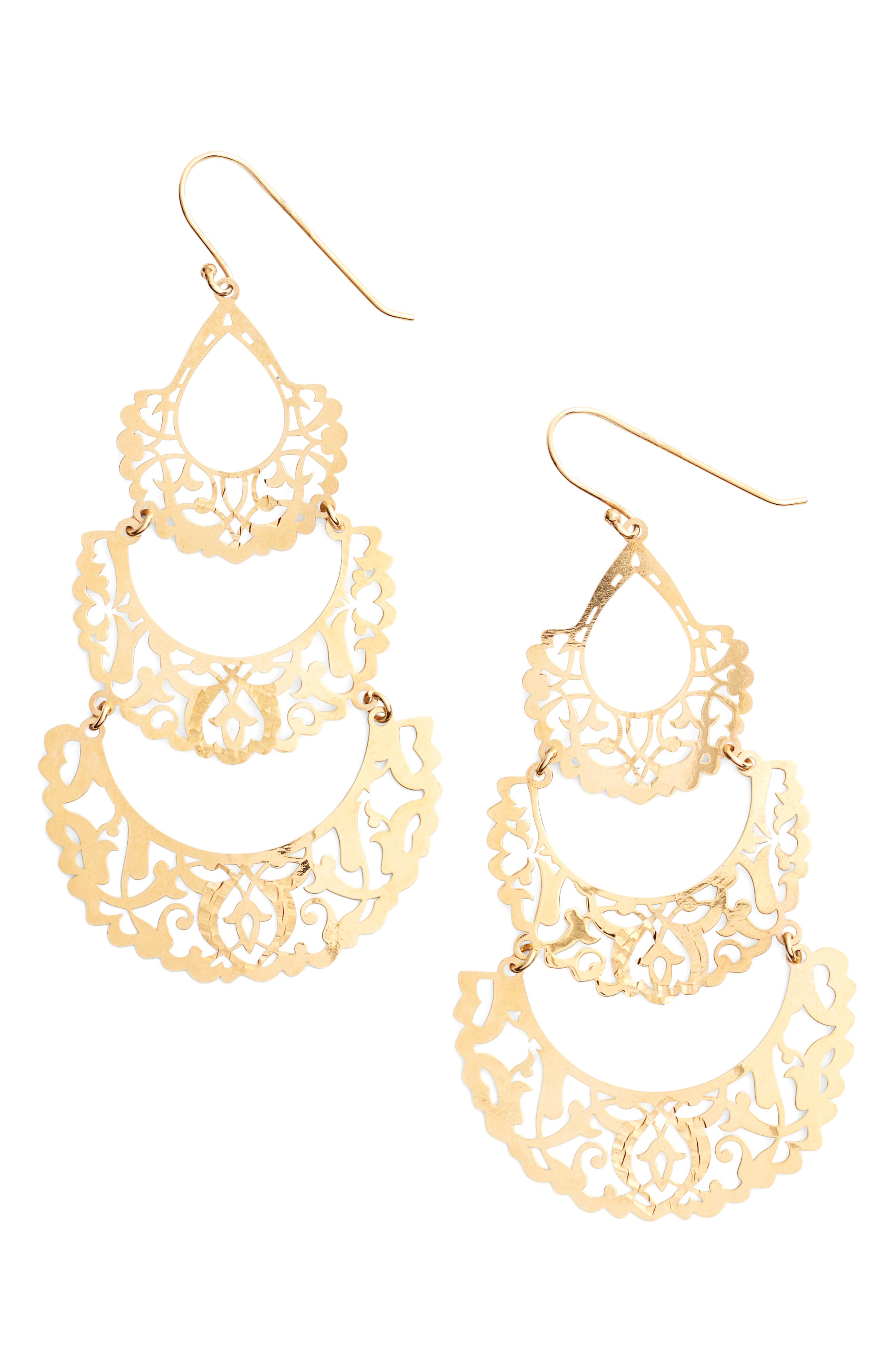 Laser Cut Drop Earrings,                             Main thumbnail 2, color,