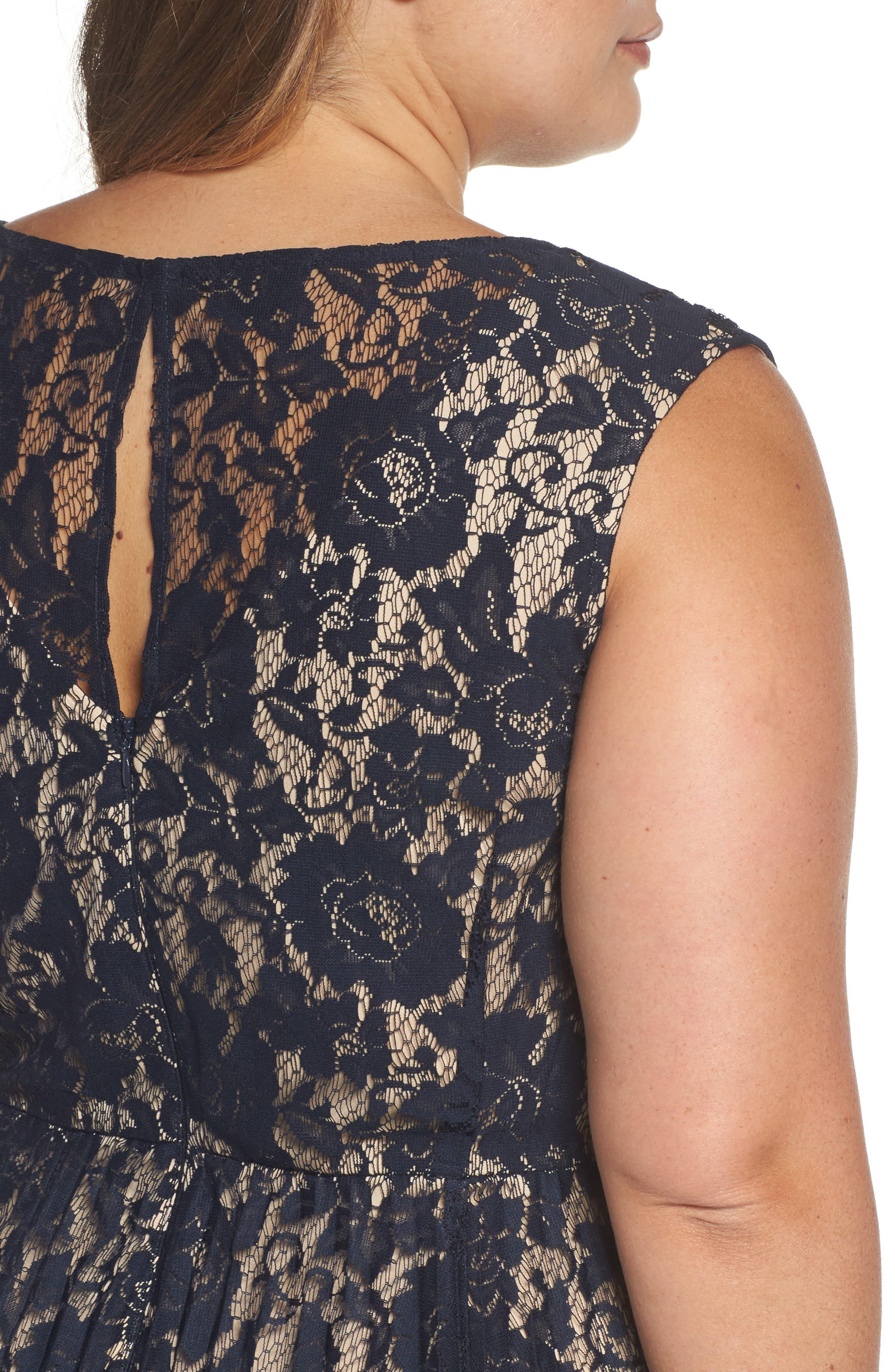 Illusion Lace Pleat Midi Dress,                             Alternate thumbnail 4, color,                             410