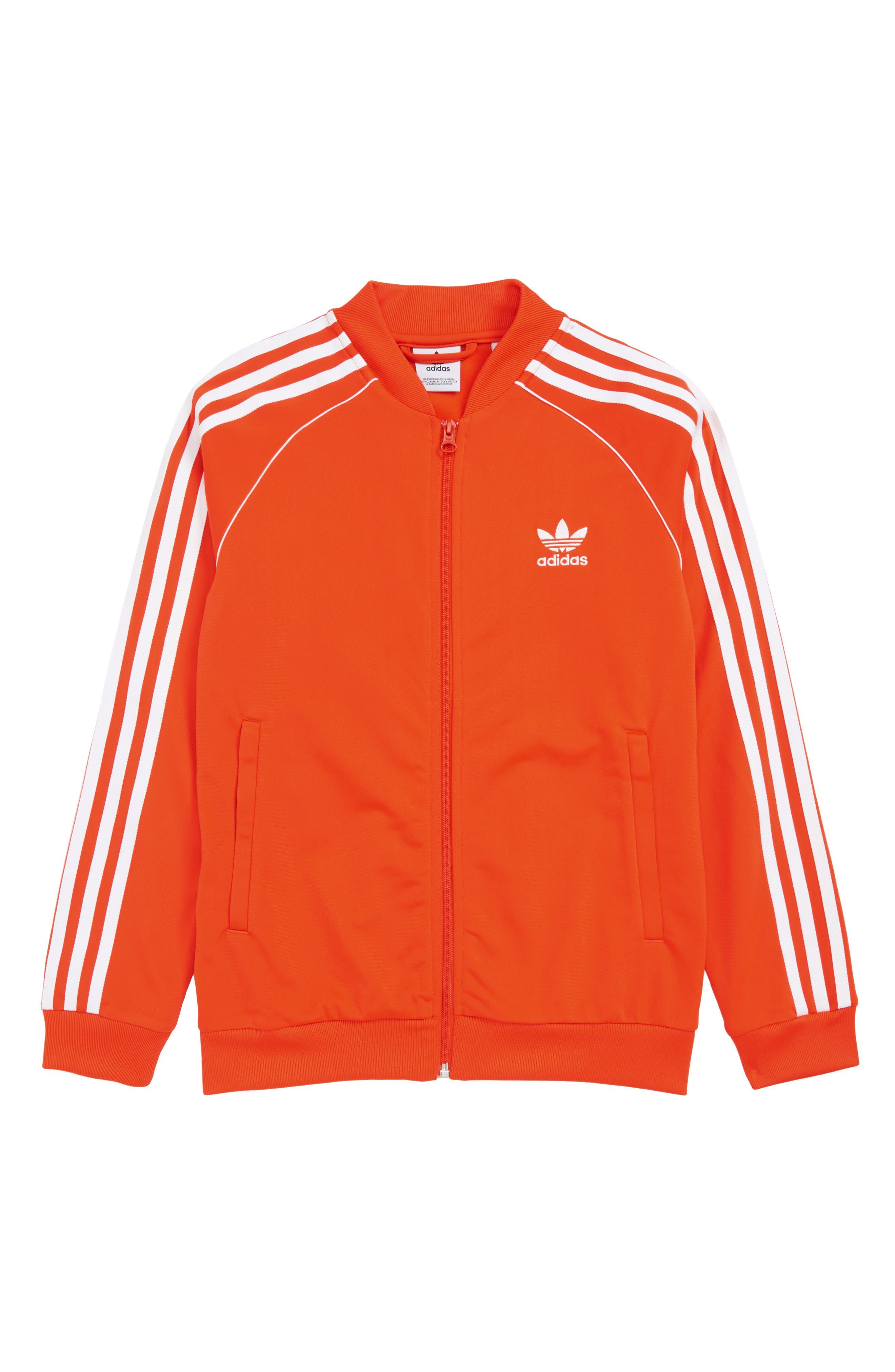 Superstar Track Jacket, Main, color, ACTIVE ORANGE/ WHITE