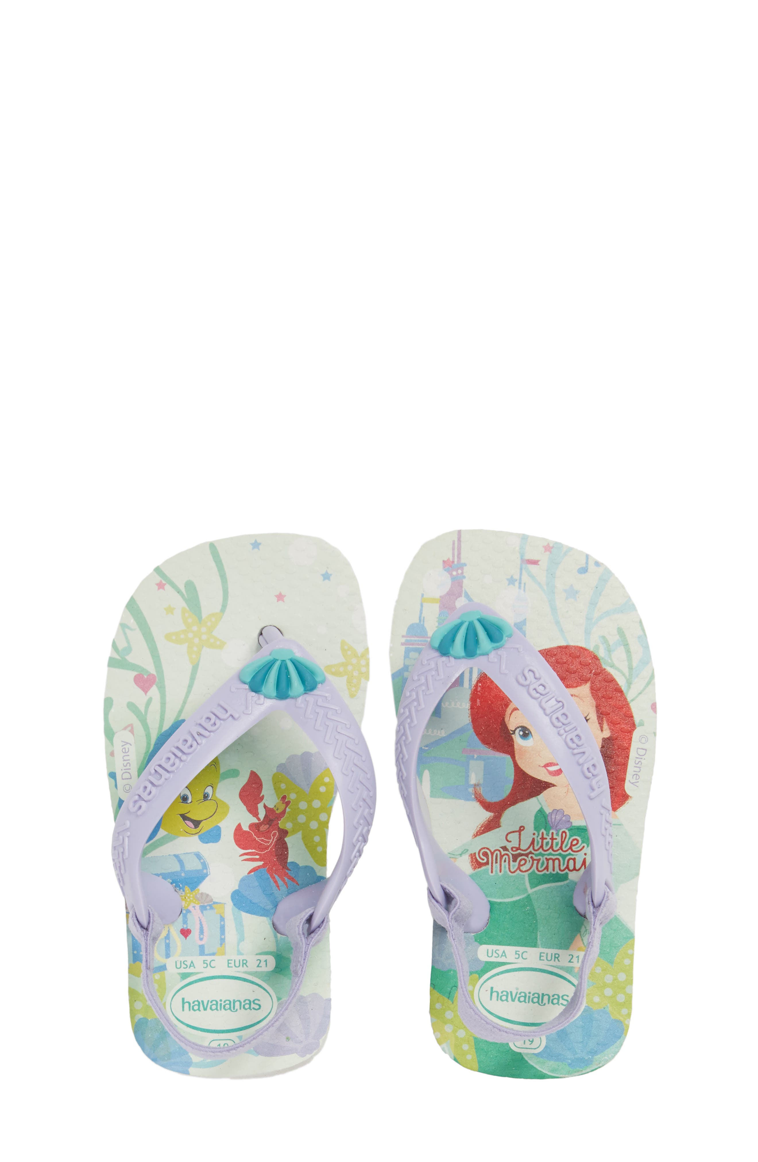 Baby Disney<sup>®</sup> Princess Flip Flop,                             Main thumbnail 1, color,                             100