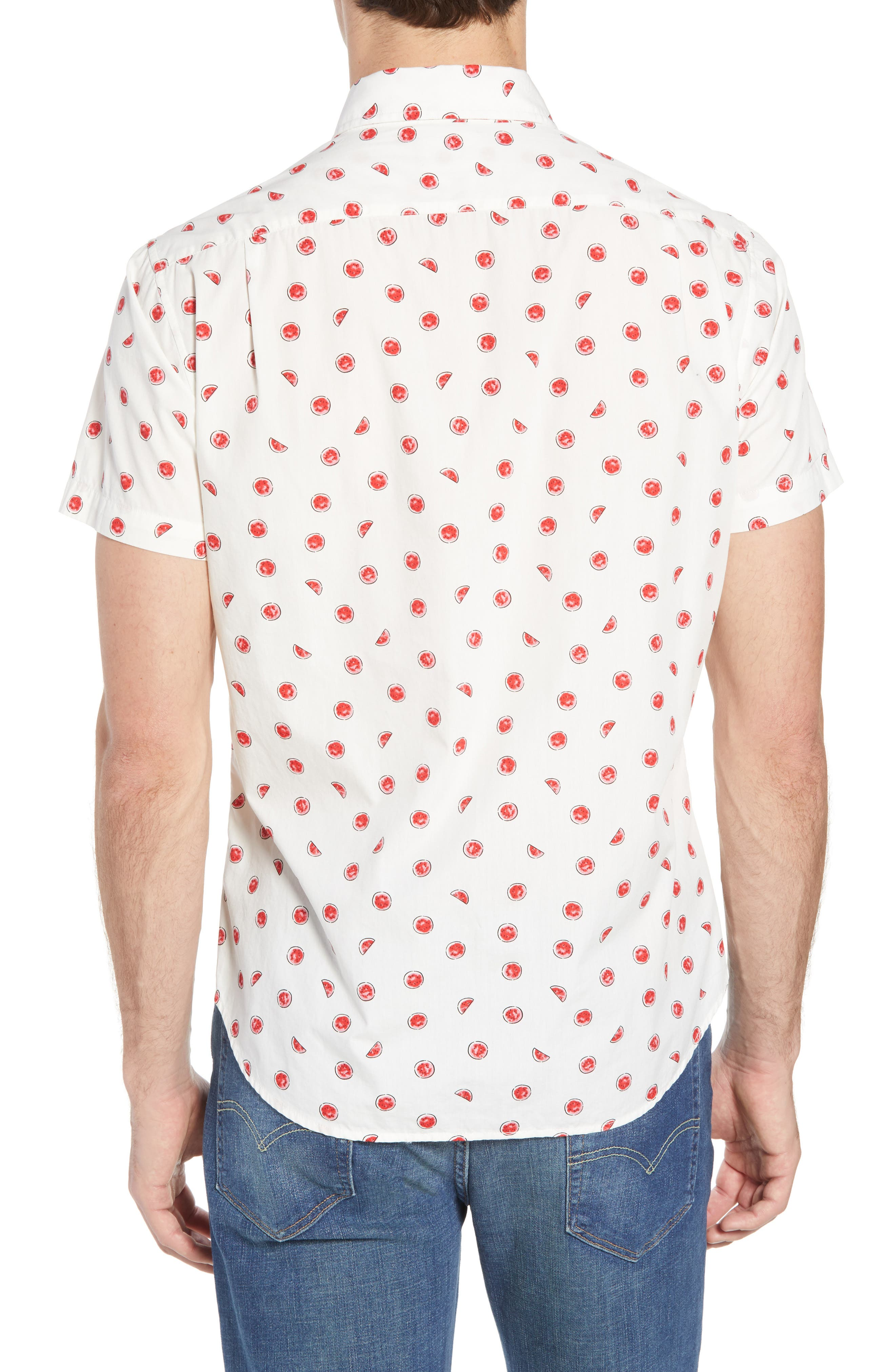 Slim Fit Watermelon Print Sport Shirt,                             Alternate thumbnail 2, color,                             100