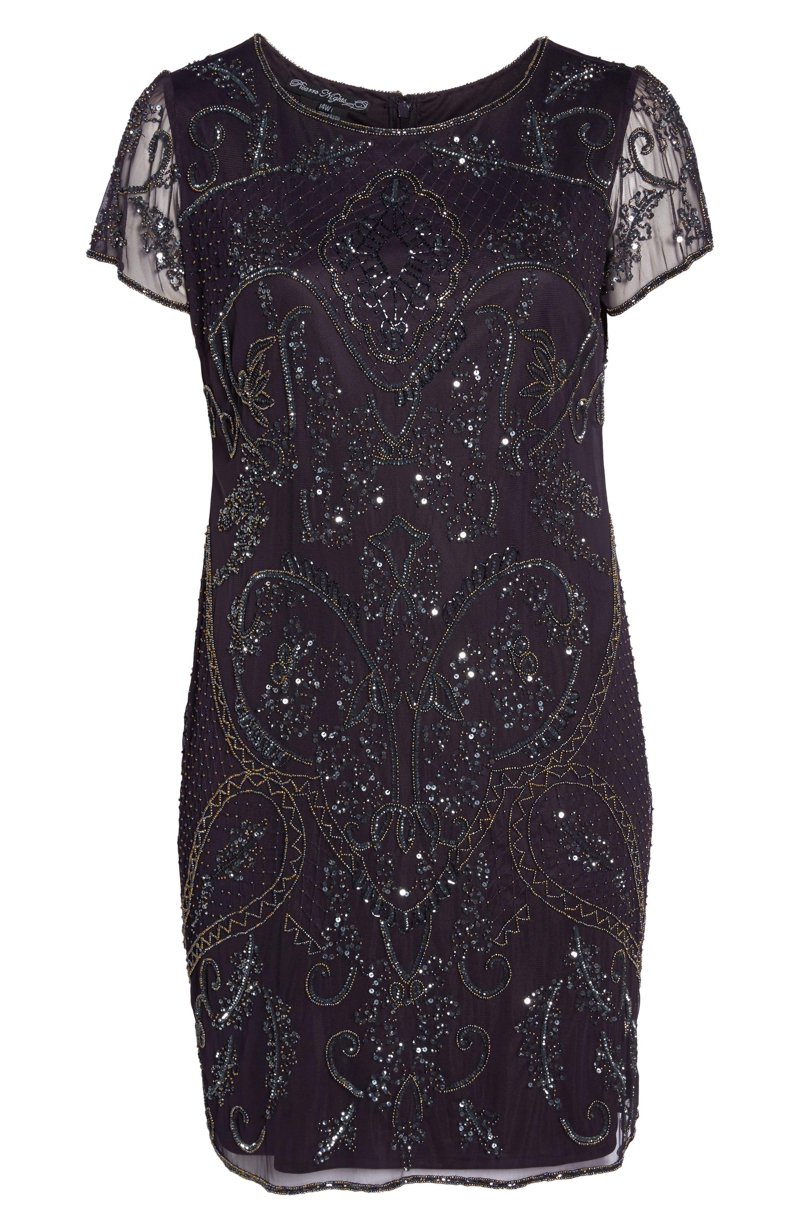 Embellished Mesh Sheath Dress,                             Alternate thumbnail 6, color,                             930