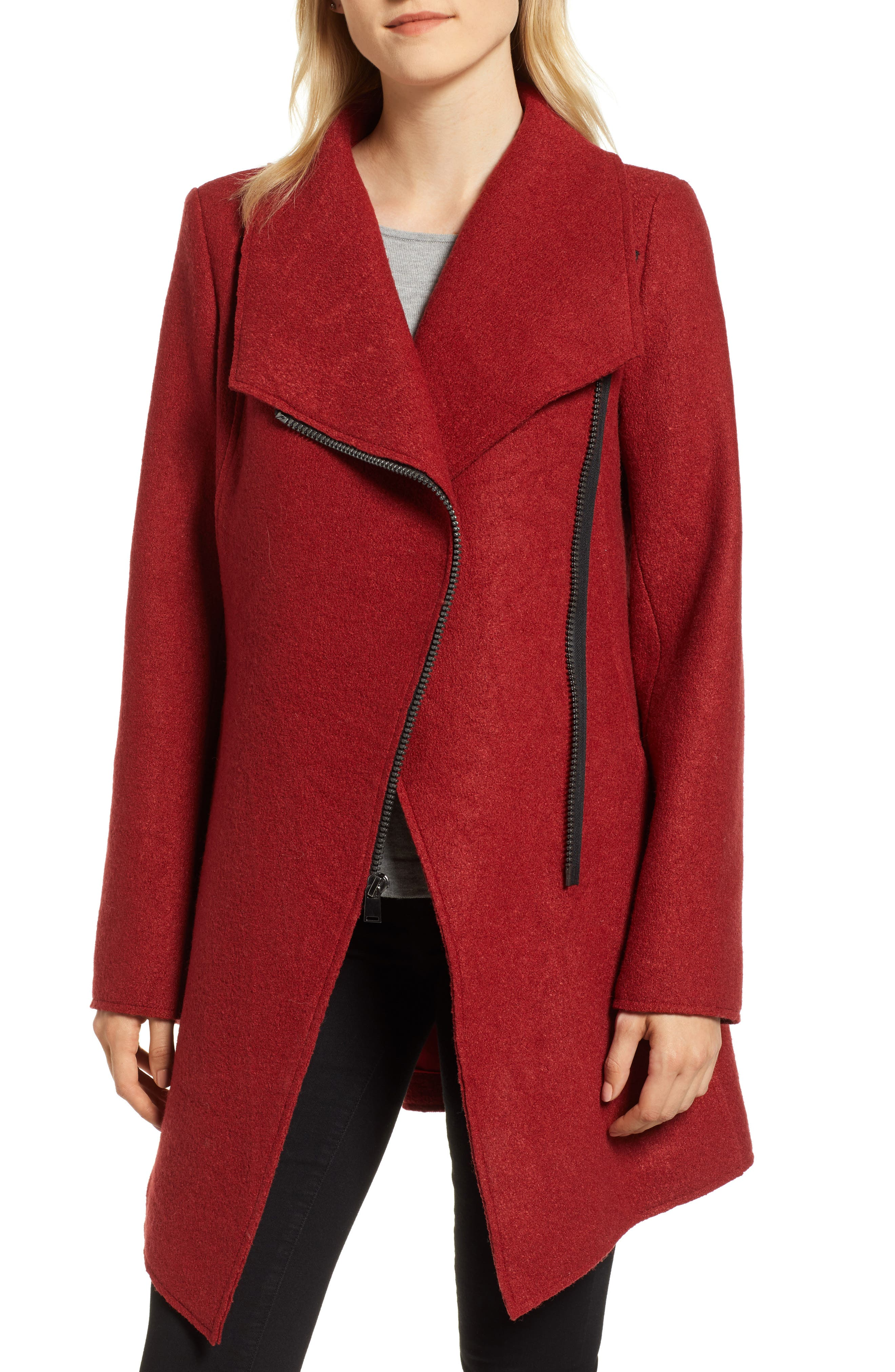 HALOGEN<SUP>®</SUP>,                             Asymmetrical Zip Boiled Wool Blend Coat,                             Main thumbnail 1, color,                             BRICK RED