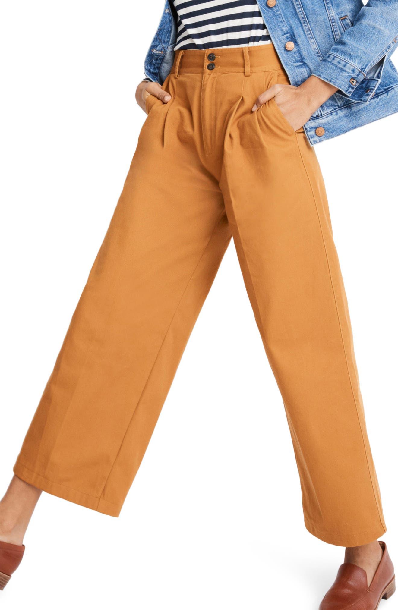 High Waist Crop Wide Leg Pants,                             Alternate thumbnail 3, color,                             GOLDEN PECAN