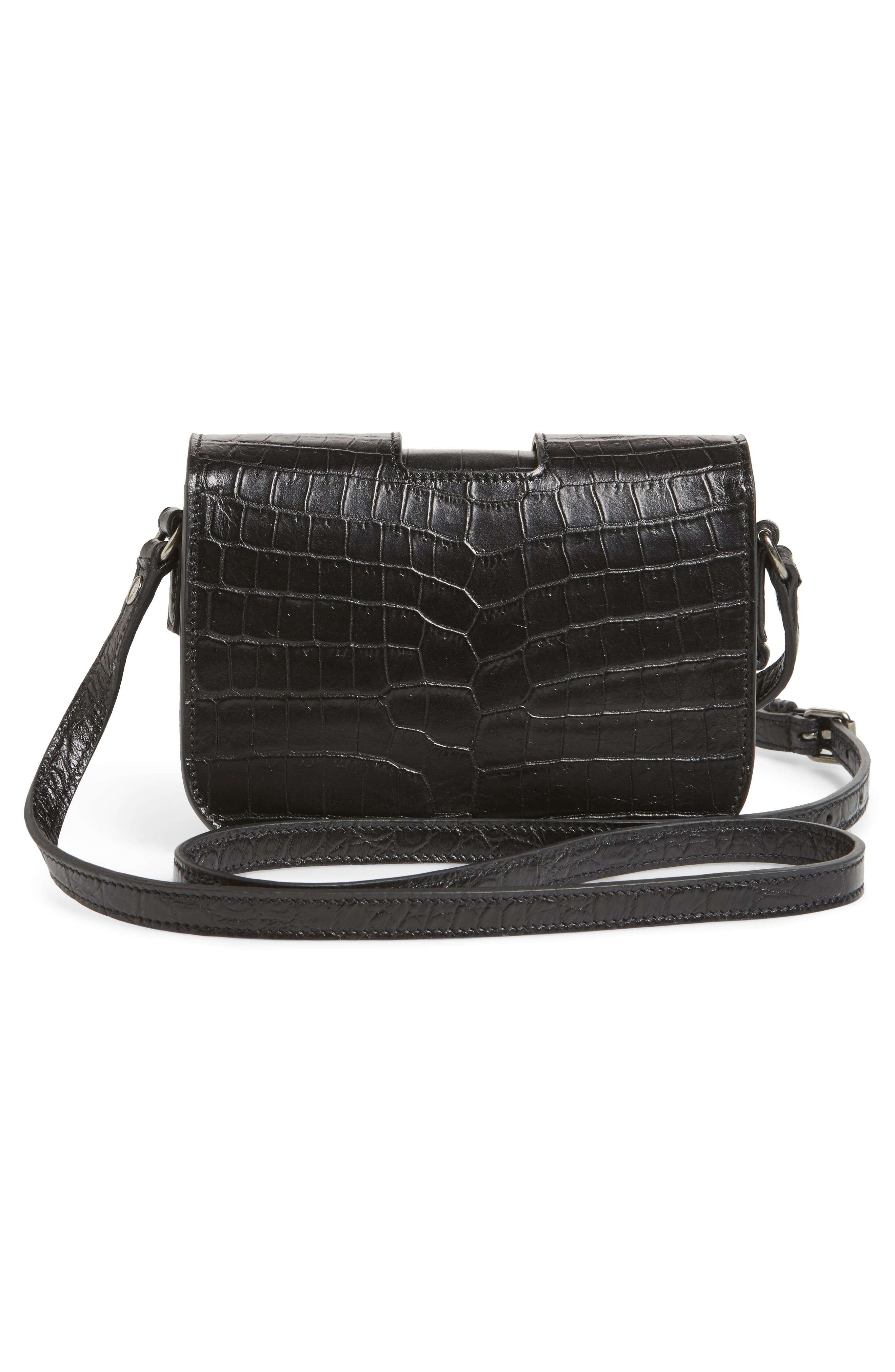 Croc Embossed Leather Crossbody Bag,                             Alternate thumbnail 3, color,                             001