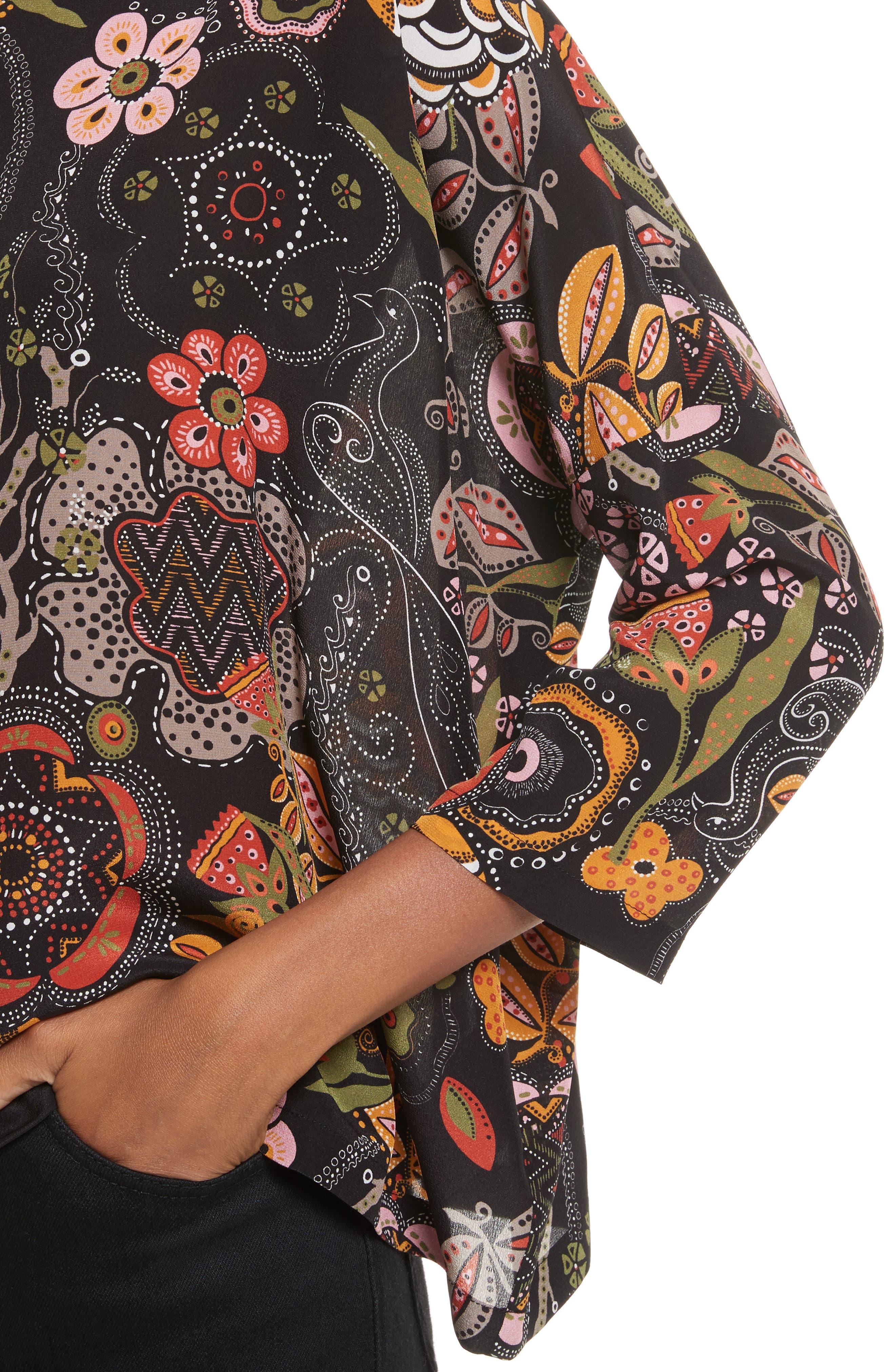 Zigzag Floral Silk Top,                             Alternate thumbnail 4, color,                             001