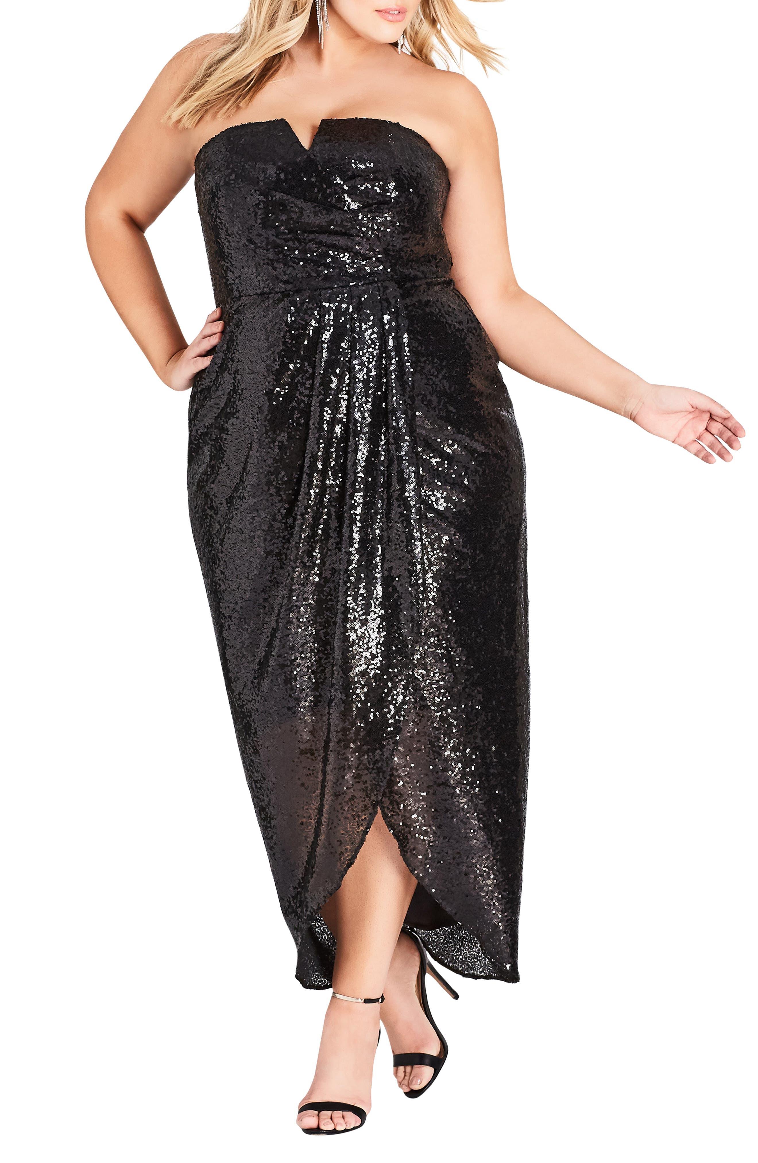 Siren Sequin Convertible Strapless Gown,                             Alternate thumbnail 4, color,                             BLACK