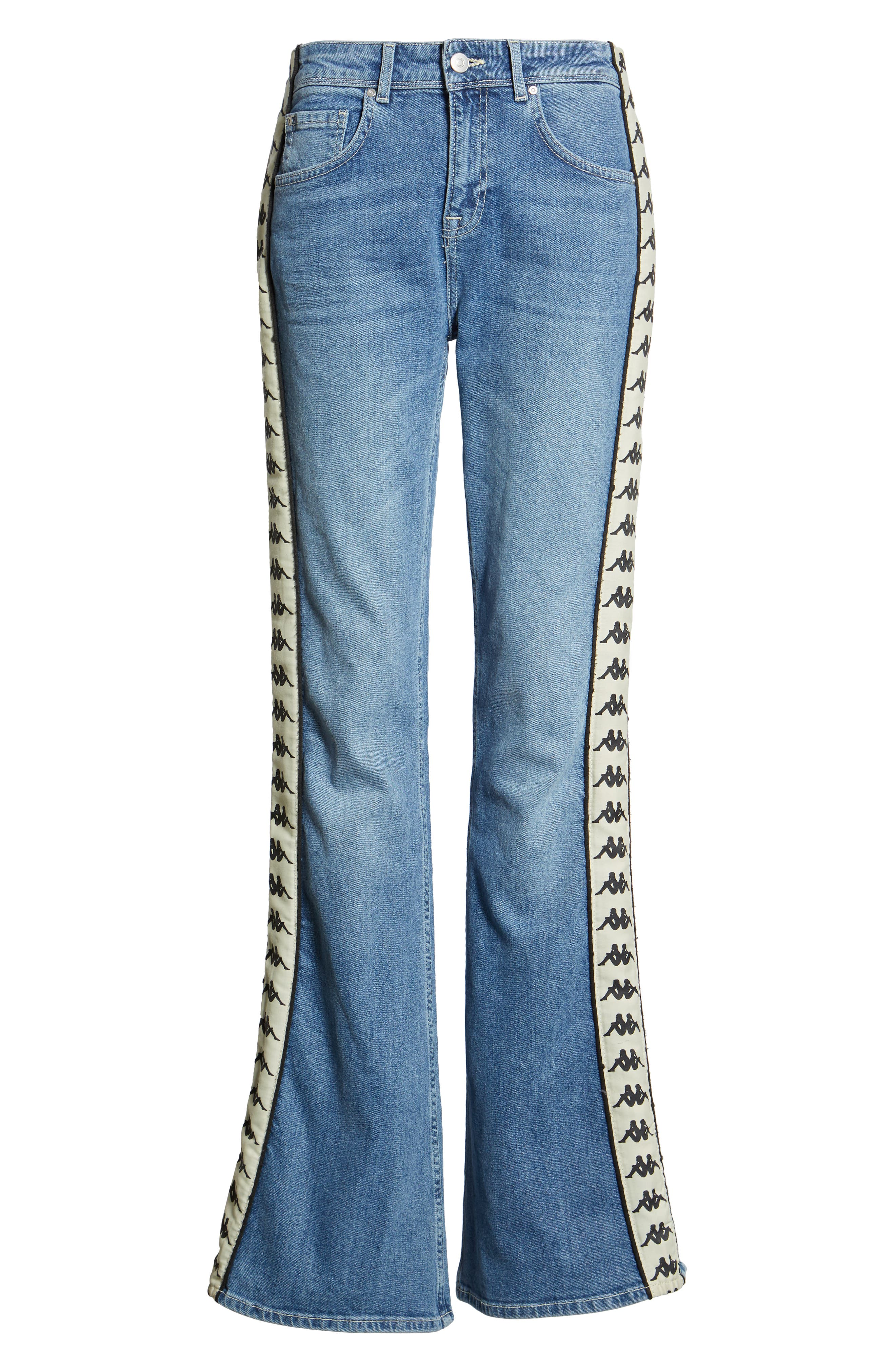 Authentic Brigit Flare Leg Jeans,                             Alternate thumbnail 7, color,                             LIGHT COBALT/ BEIGE