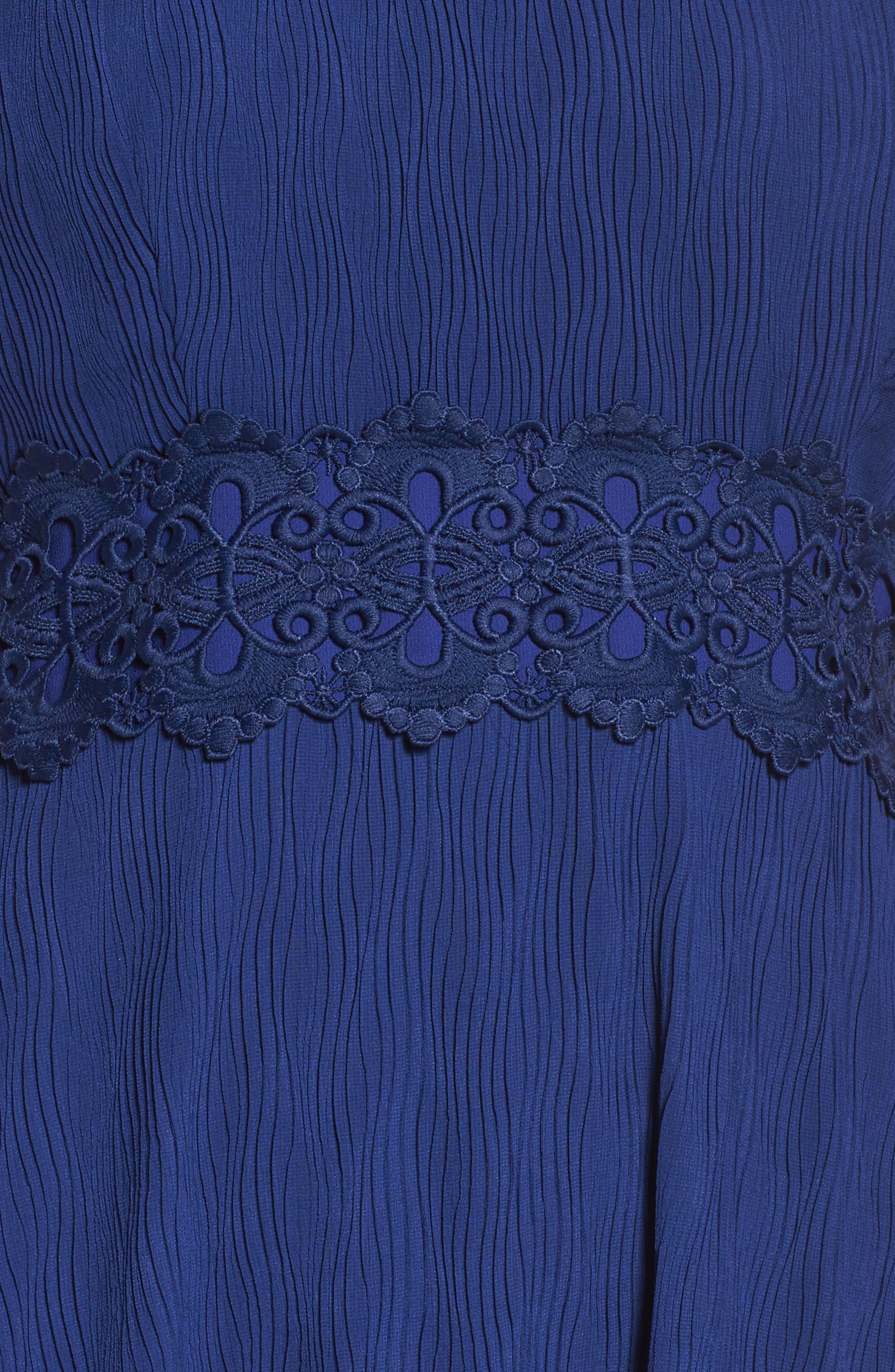 Isadora Lace Trim Pintuck Midi Dress,                             Alternate thumbnail 5, color,