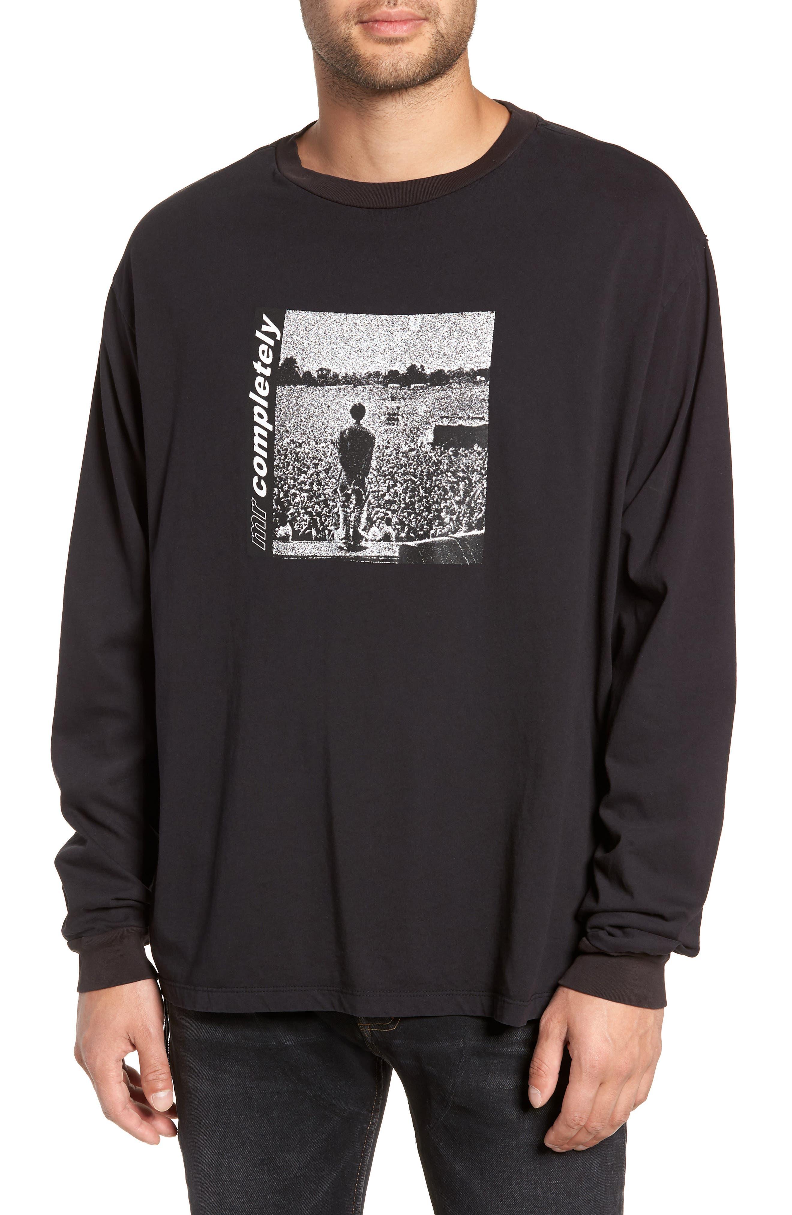 MR. COMPLETELY Oasis Oversize Long Sleeve T-Shirt in Black